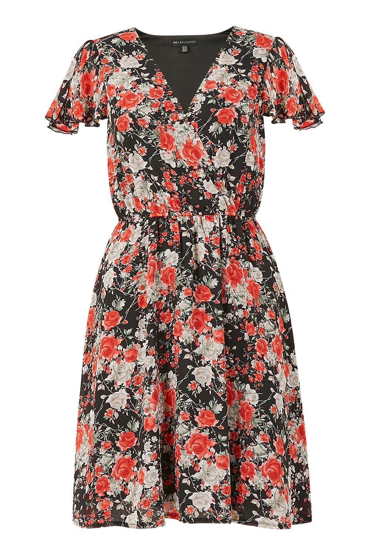 Mela Red Floral Wrap Over Dress