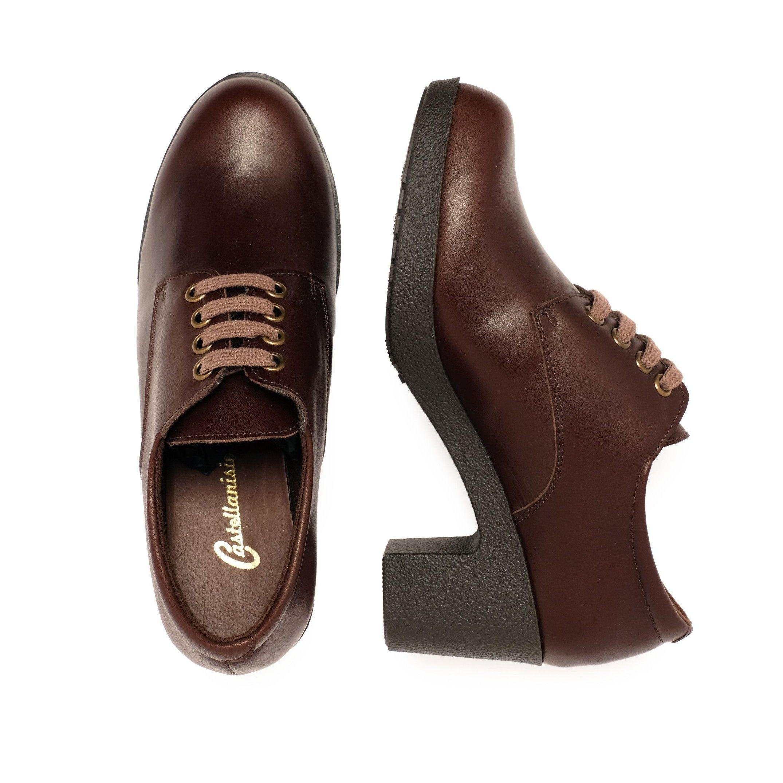 Leather Women's Brown Blucher Shoes Laces