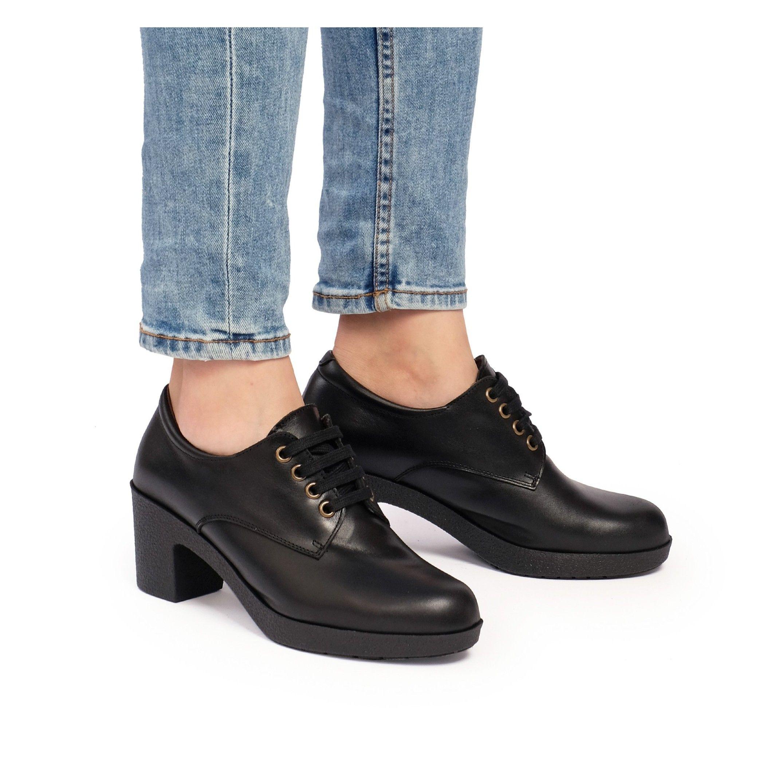 Leather Women's Black Blucher Shoes Laces