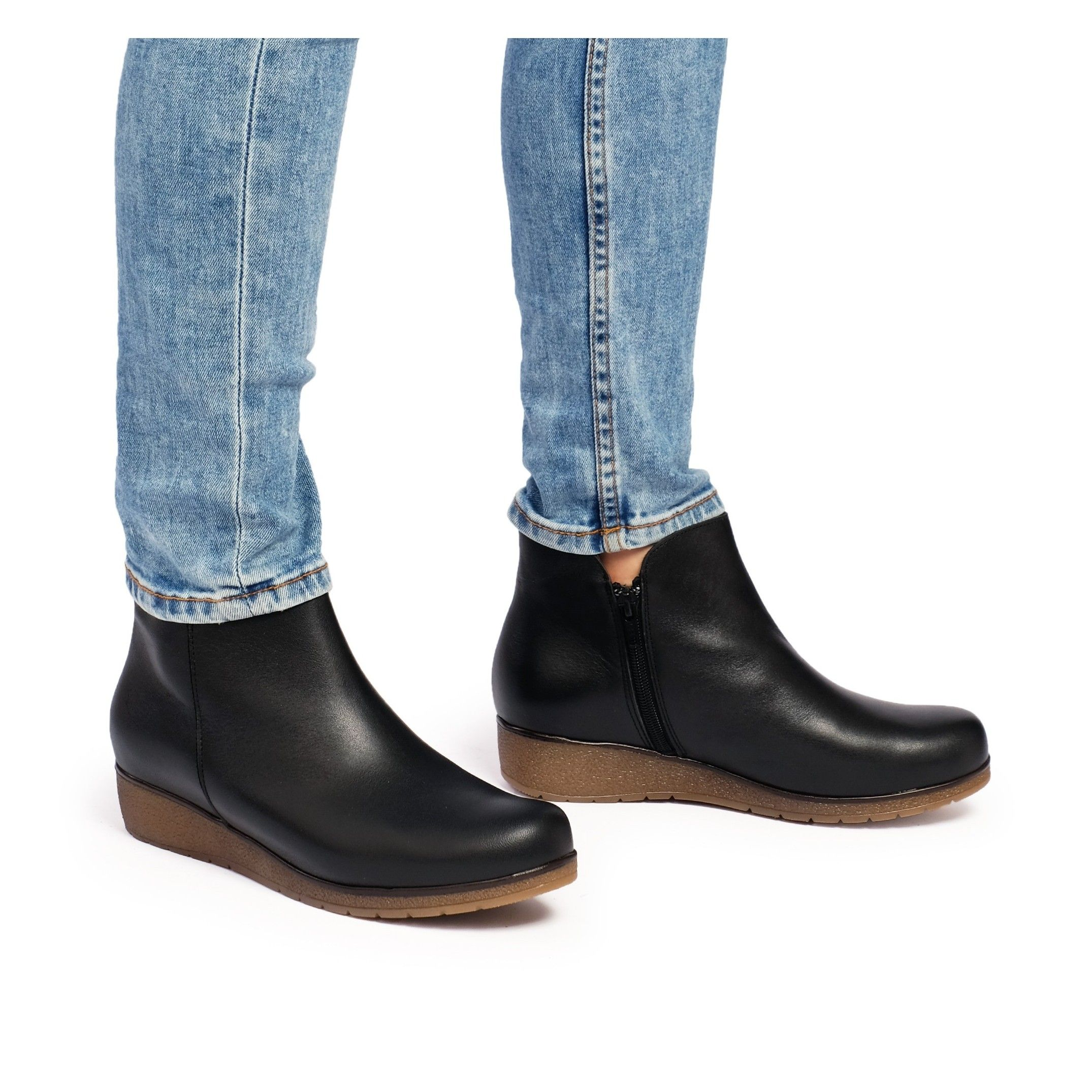 Castellanisimos Leather Ankle Black Boot Women Winter Shoes