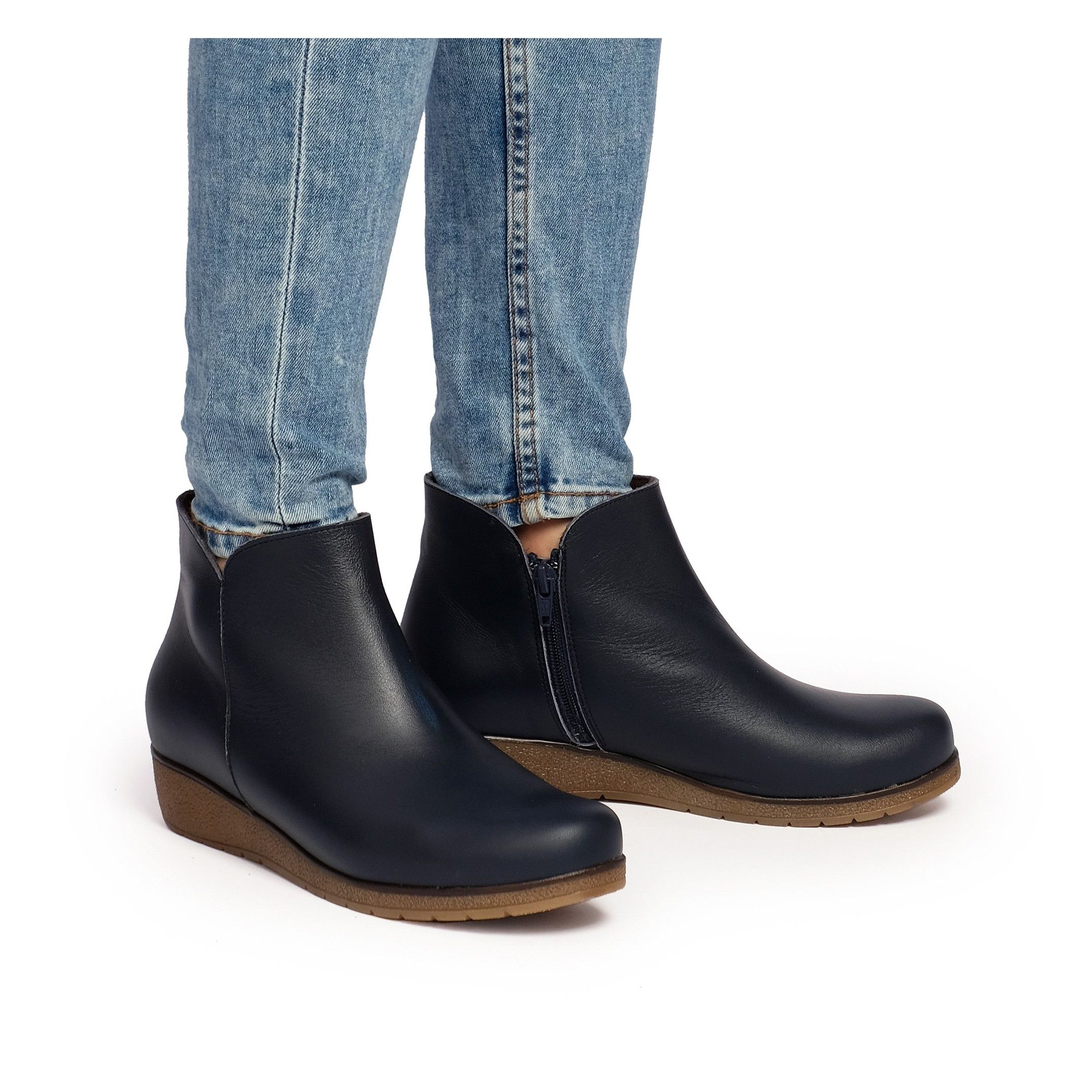 Castellanisimos Leather Ankle Navy Blue Boot Women Winter Shoes