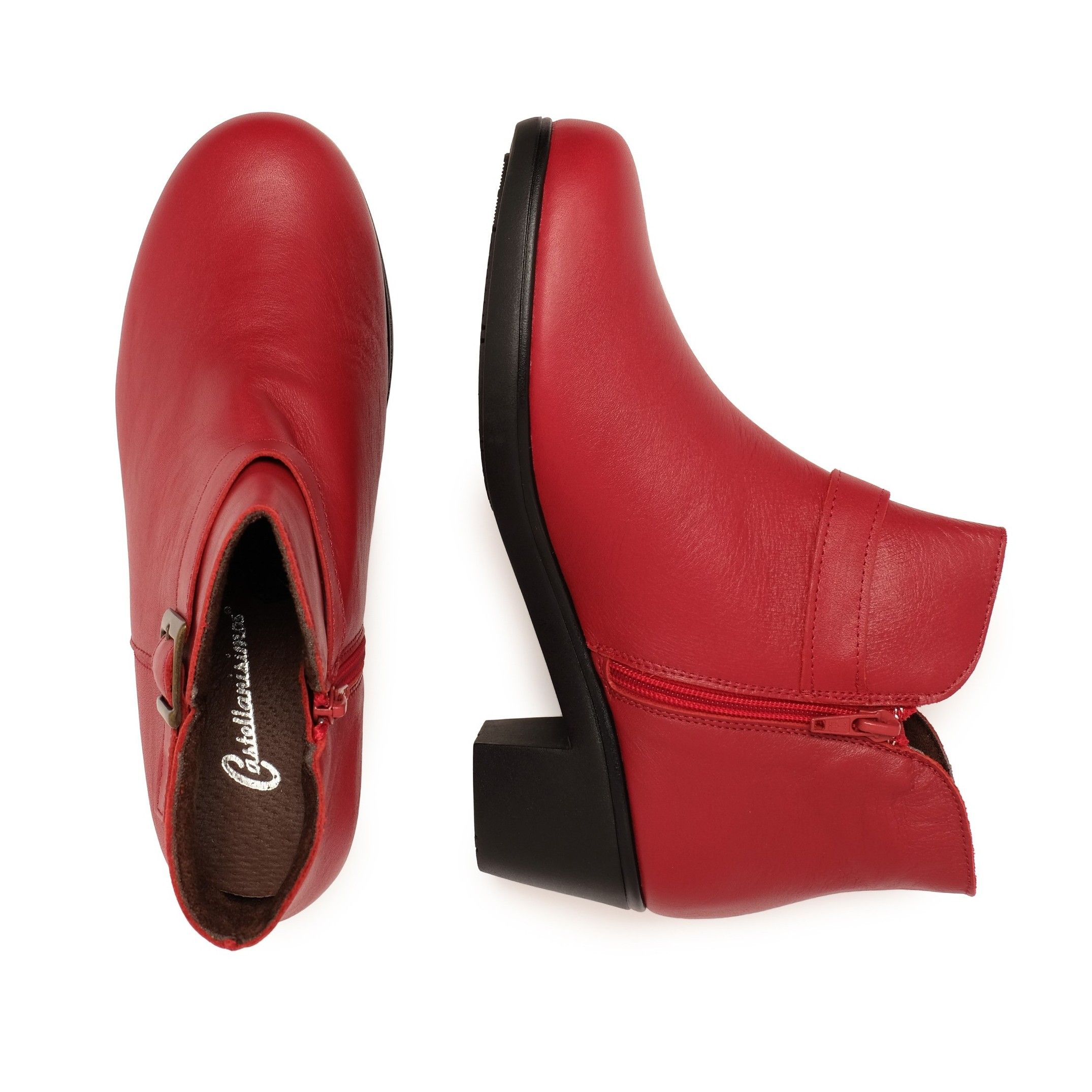 Castellanisimos Leather Ankle Red Boot Women Winter Shoes