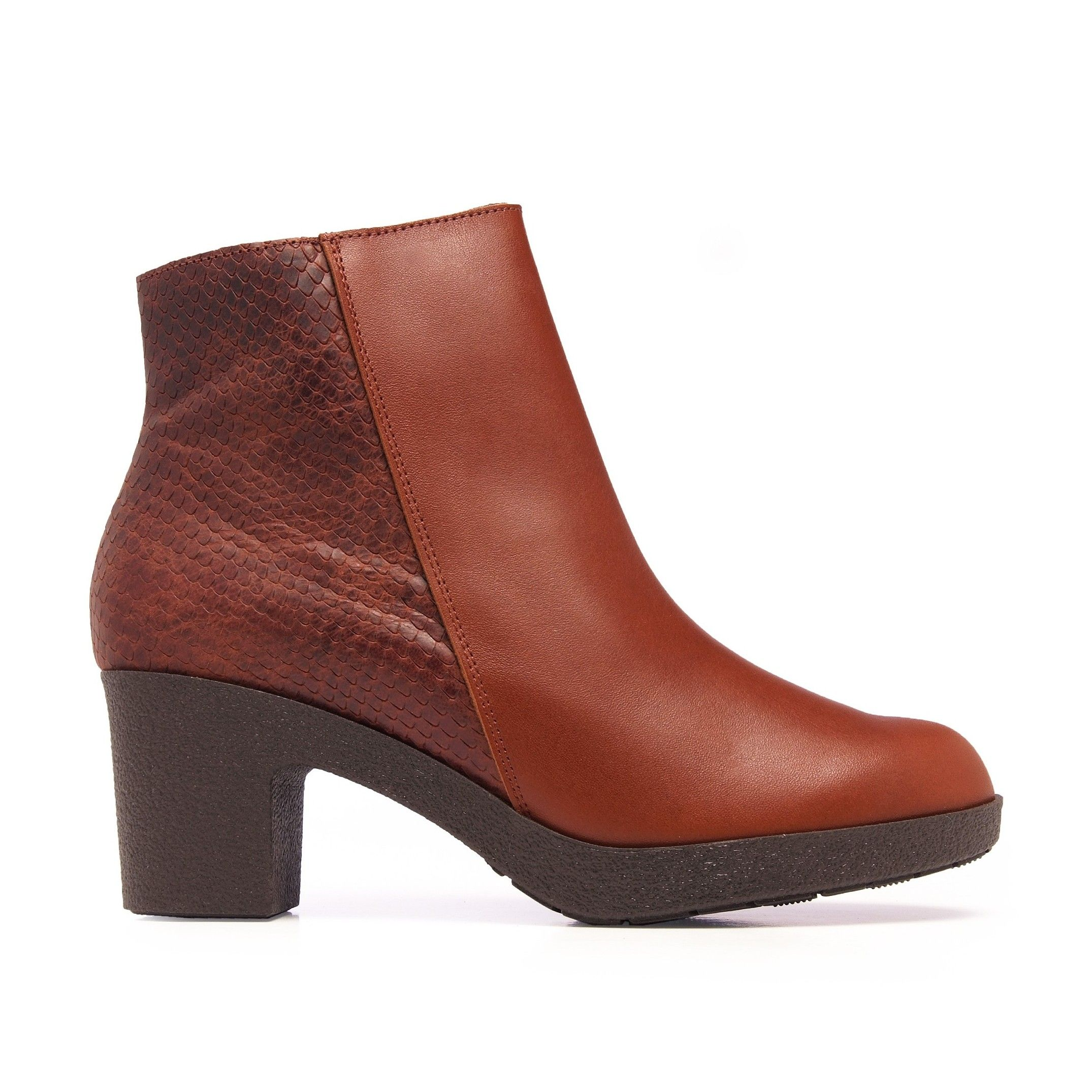 Women's Leather Ankle Cuir Boot Winter Shoes in Natural