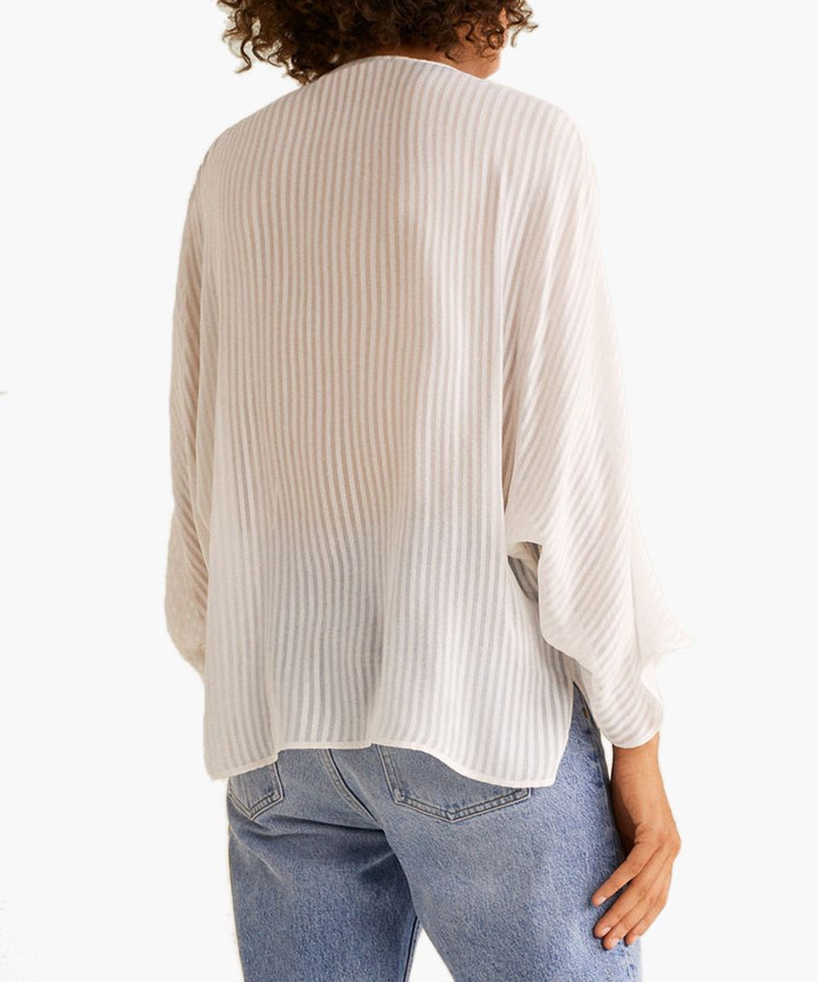 Off-white textured chiffon blouse