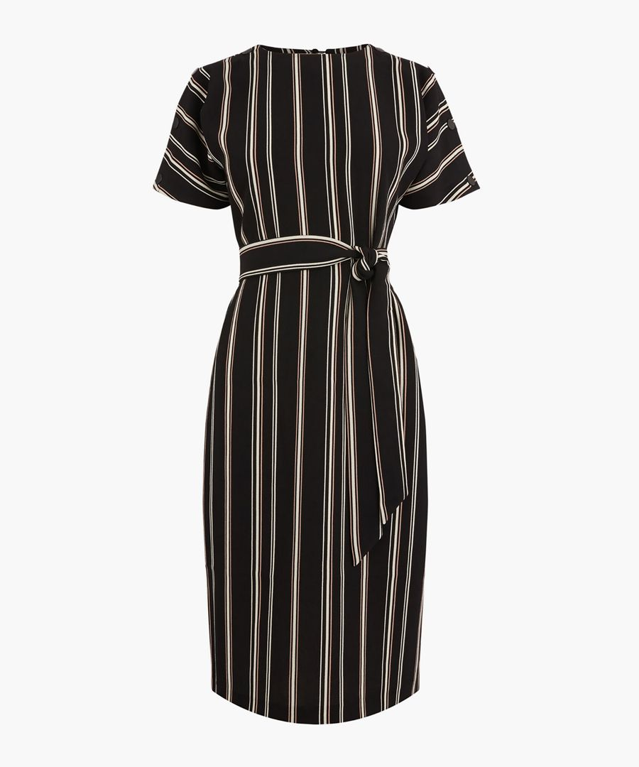Multi stripe button wiggle dress