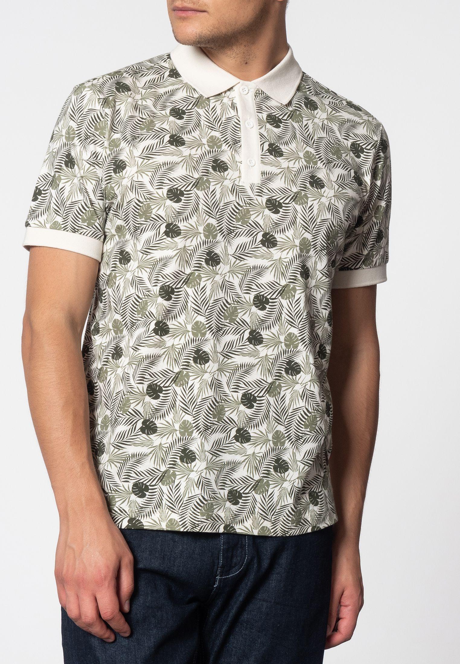 Gaston Short Sleeve Palm Print Polo Shirt In Off White