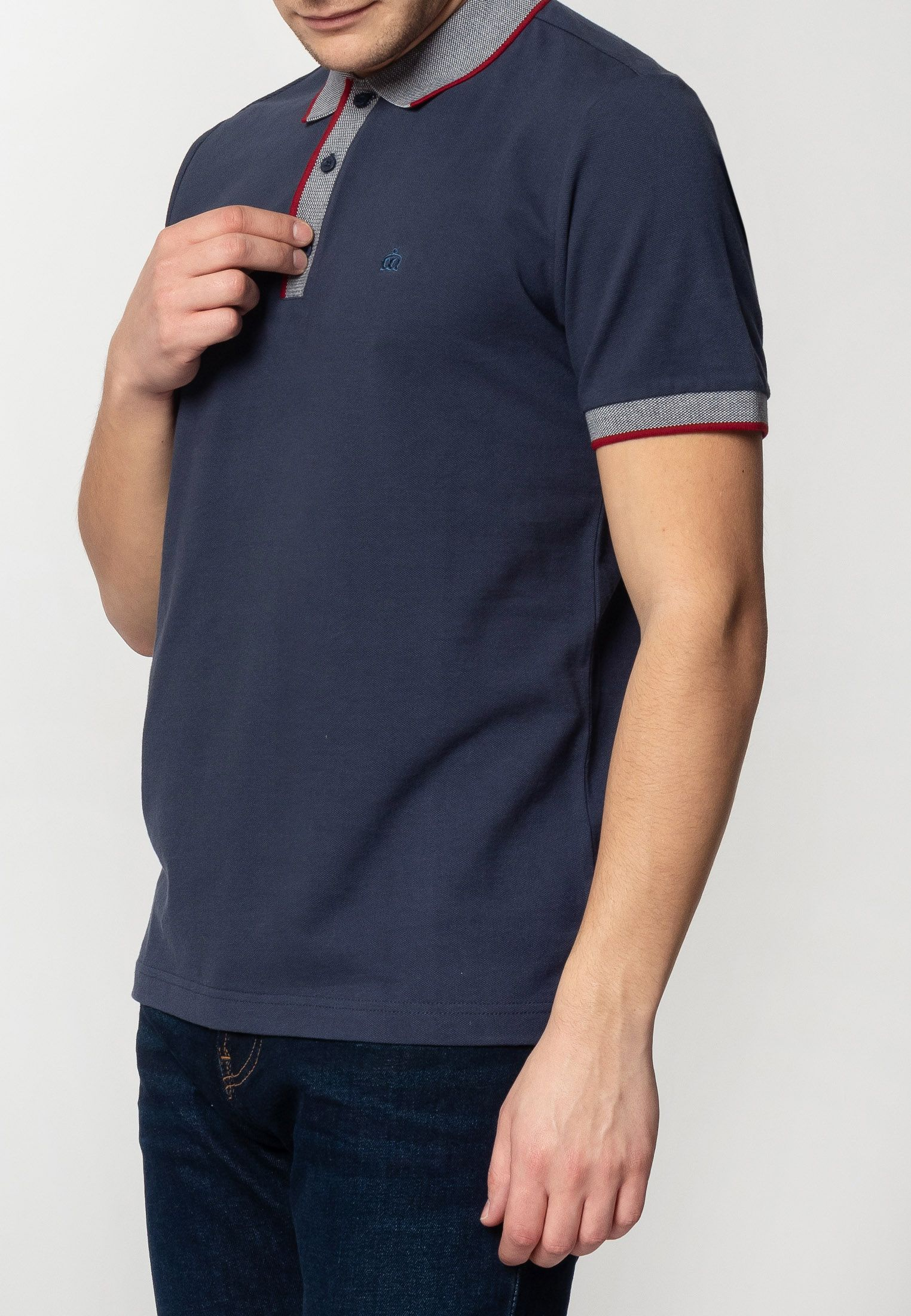 Rupert Mens Plain Cotton Polo Shirt With Collar And Sleeve Contrast Details In Dark Blue