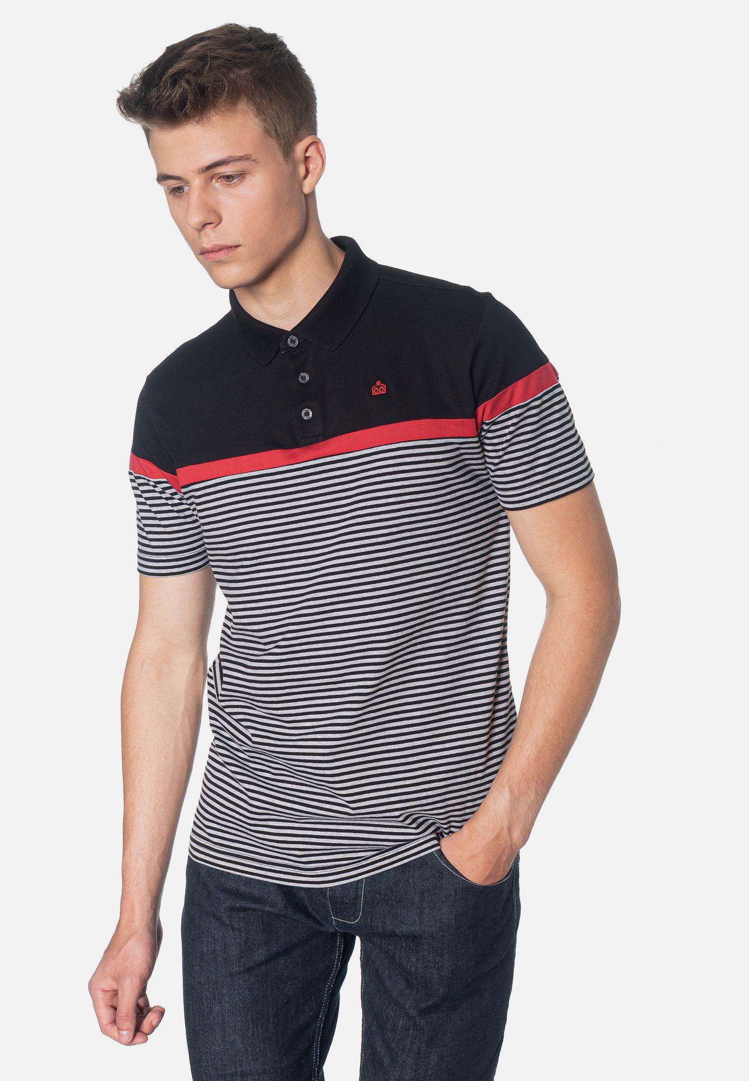 Clarence Colour Block Stripes Men's Polo Shirt in Black