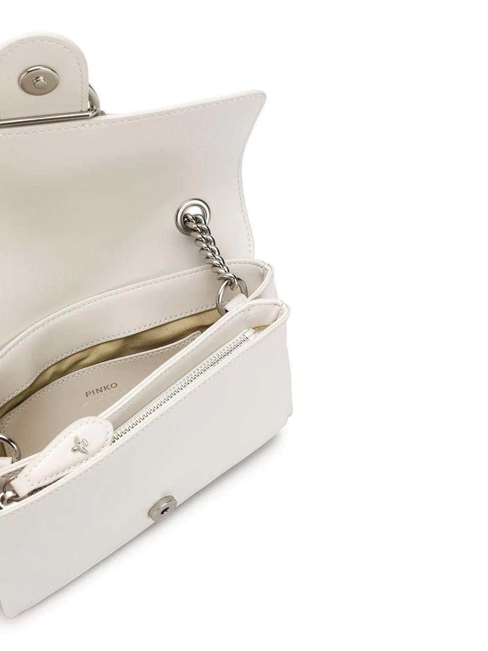 PINKO WOMEN'S 1P21KUY5FFI09 WHITE LEATHER SHOULDER BAG
