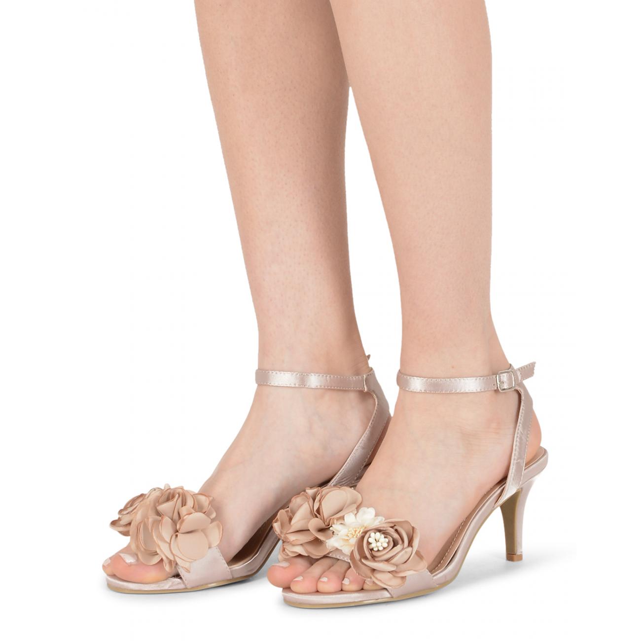 19V69 Italia Women's Ankle Strap Sandal Beige V609 BEIGE