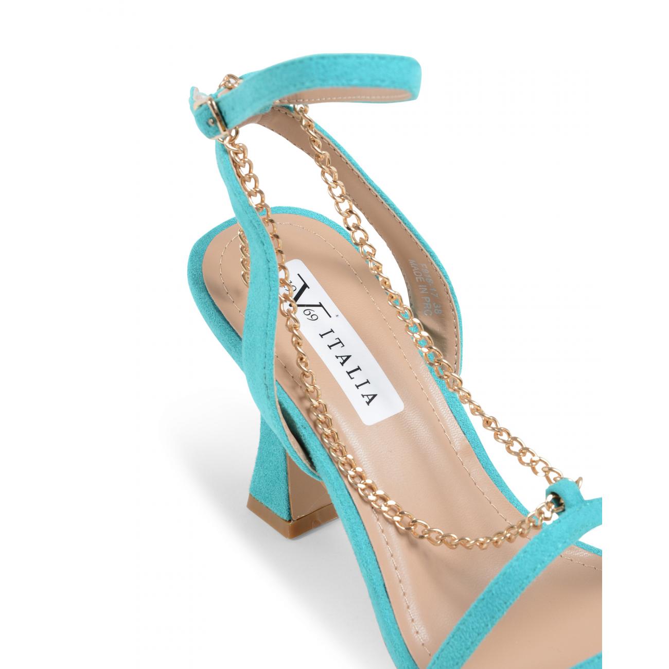 19V69 Italia Women's Ankle Strap Sandal Turquoise V81817 TURQUOISE