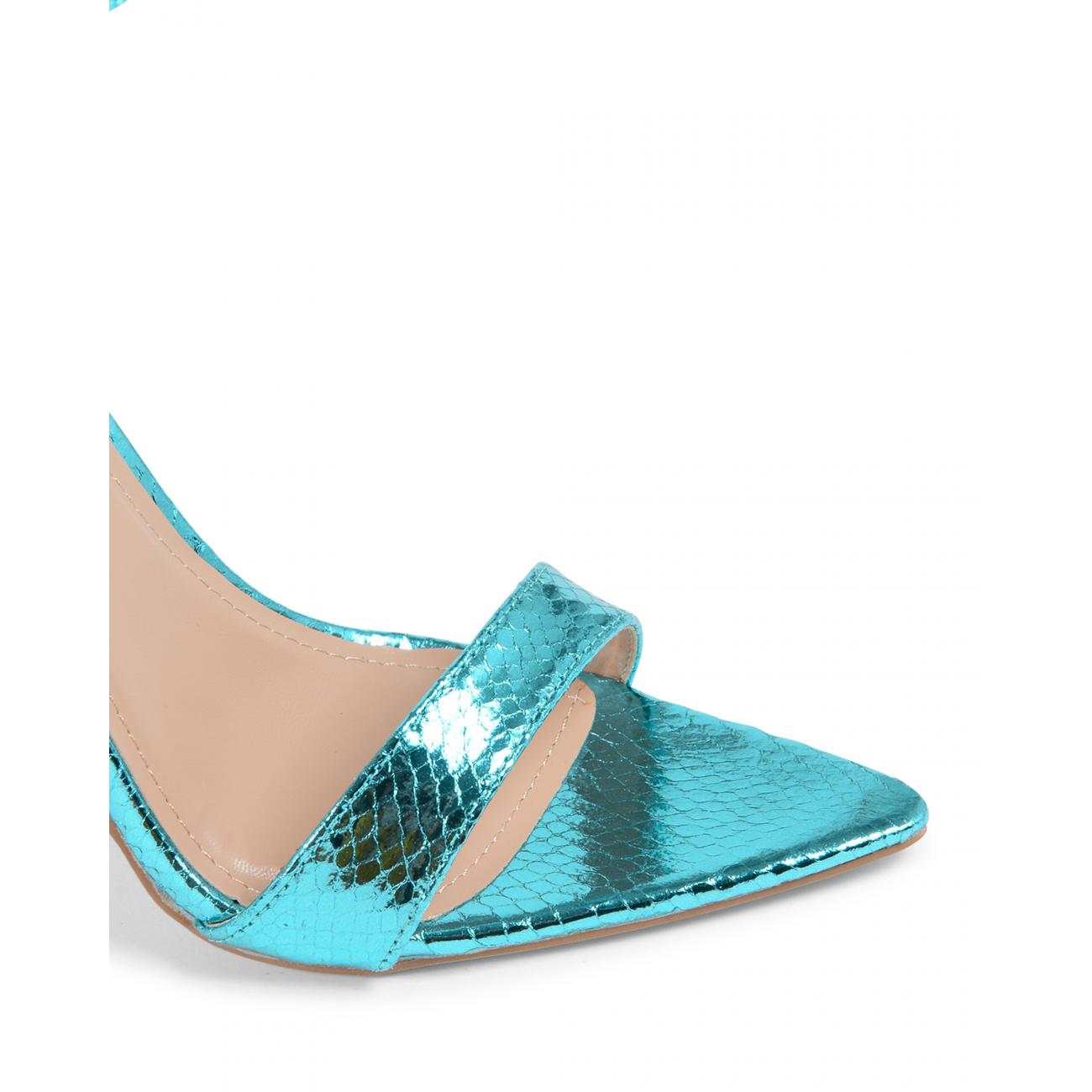 19V69 Italia Women's Ankle Strap Sandal Turquoise V8183 TURQUOISE