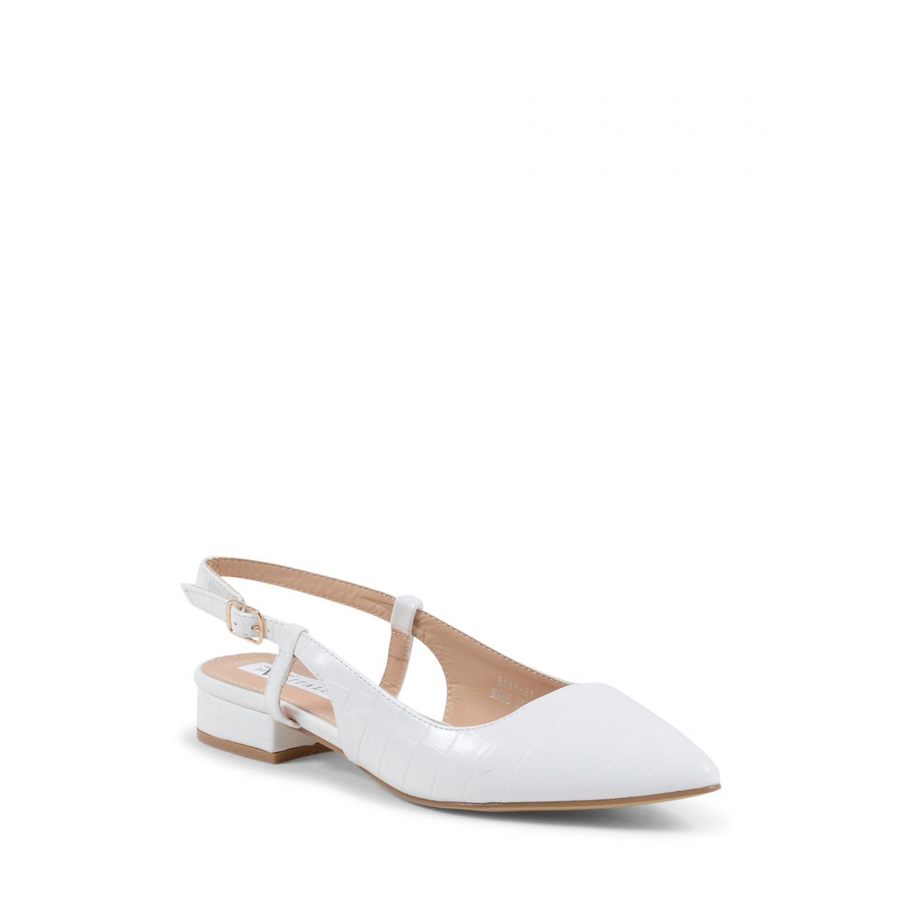 19V69 Italia Women's Slingback Ballerina White V81831 WHITE