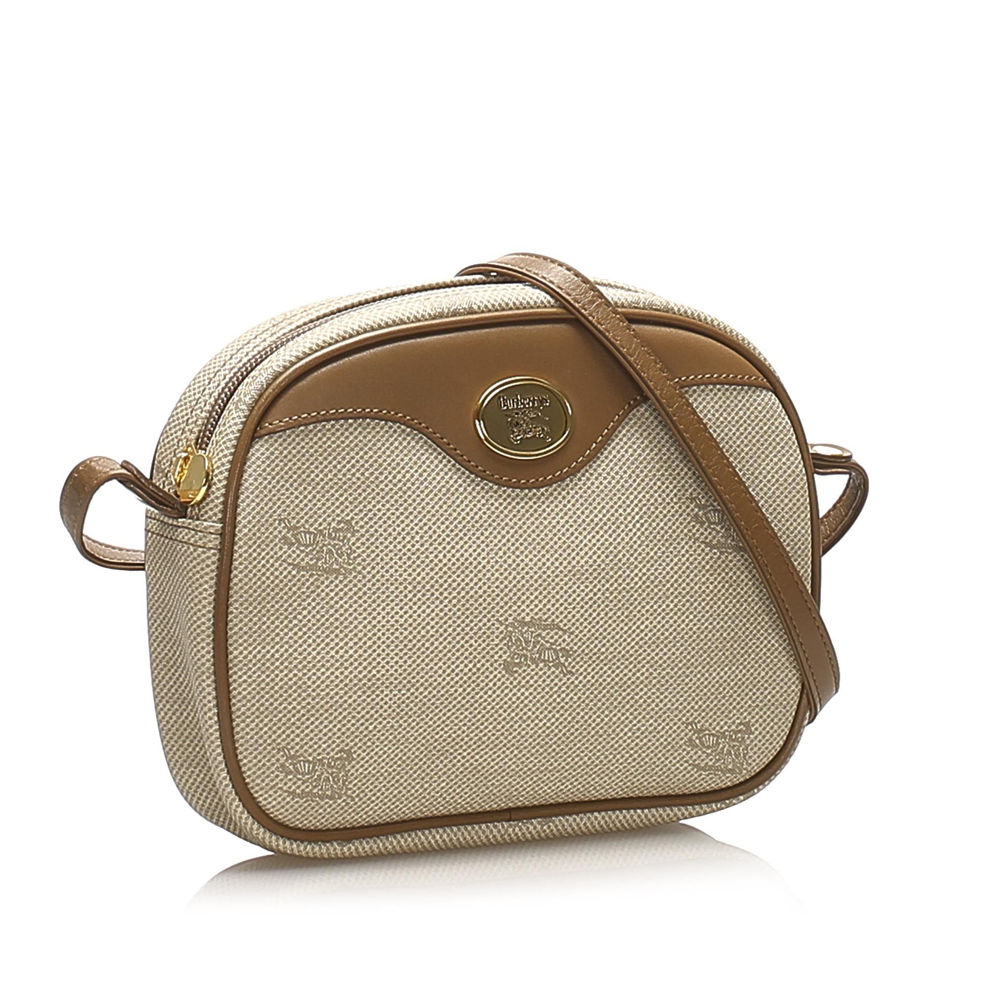 Vintage Burberry Canvas Crossbody Bag Brown