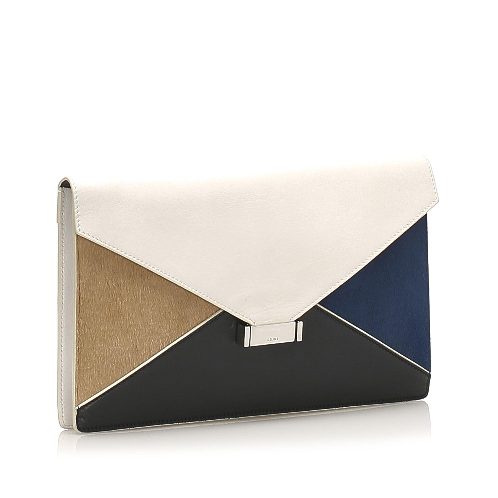 Vintage Celine Diamond Clutch Bag White