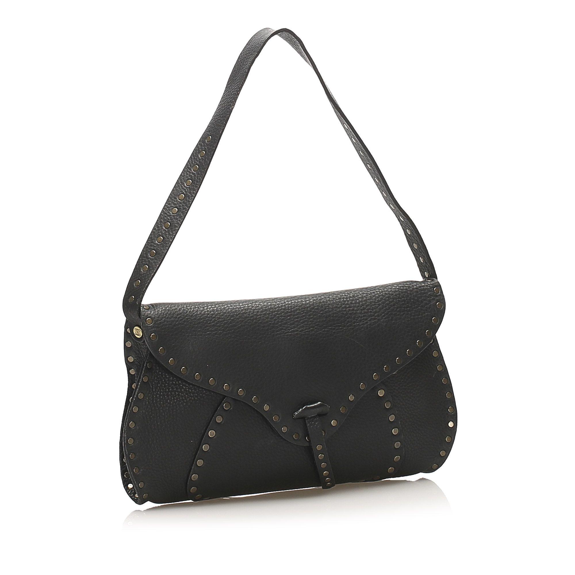 Vintage Celine Studded Leather Baguette Black