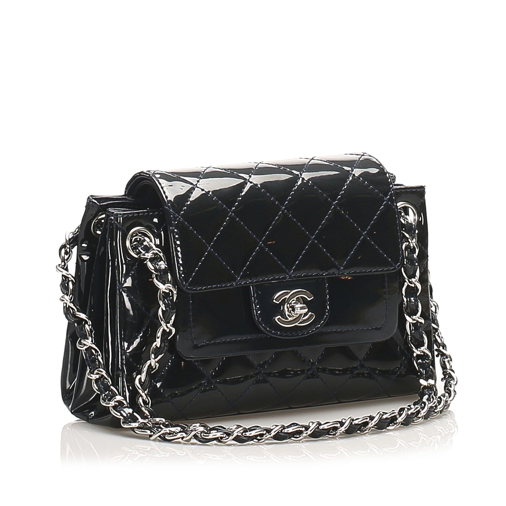 Vintage Chanel Accordion CC Timeless Patent Leather Shoulder Bag Blue