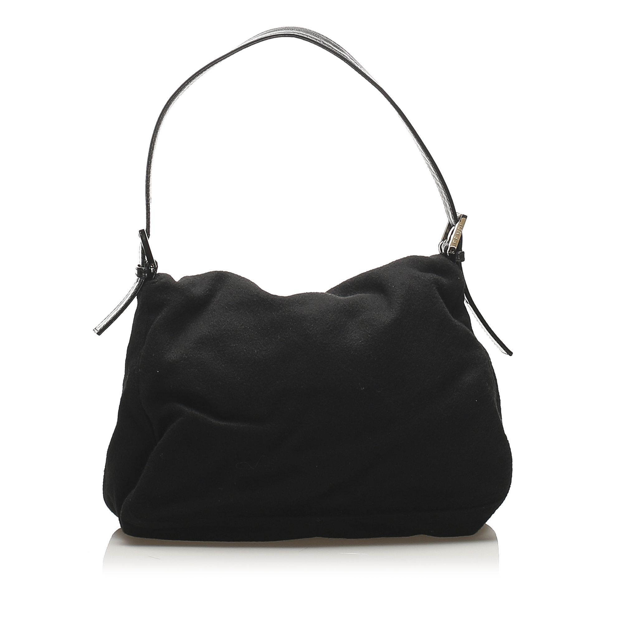 Vintage Fendi Mamma Wool Shoulder Bag Black