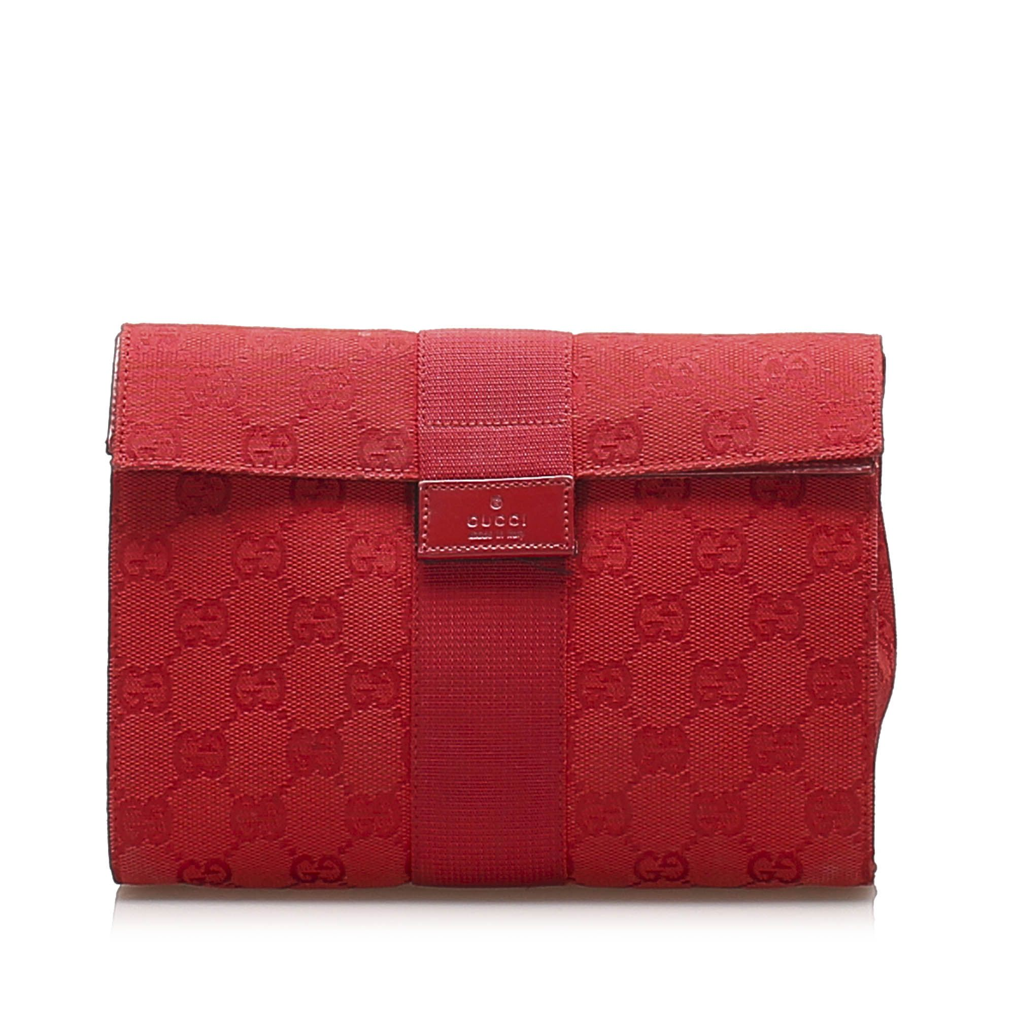 Vintage Gucci GG Canvas Clutch Bag Red