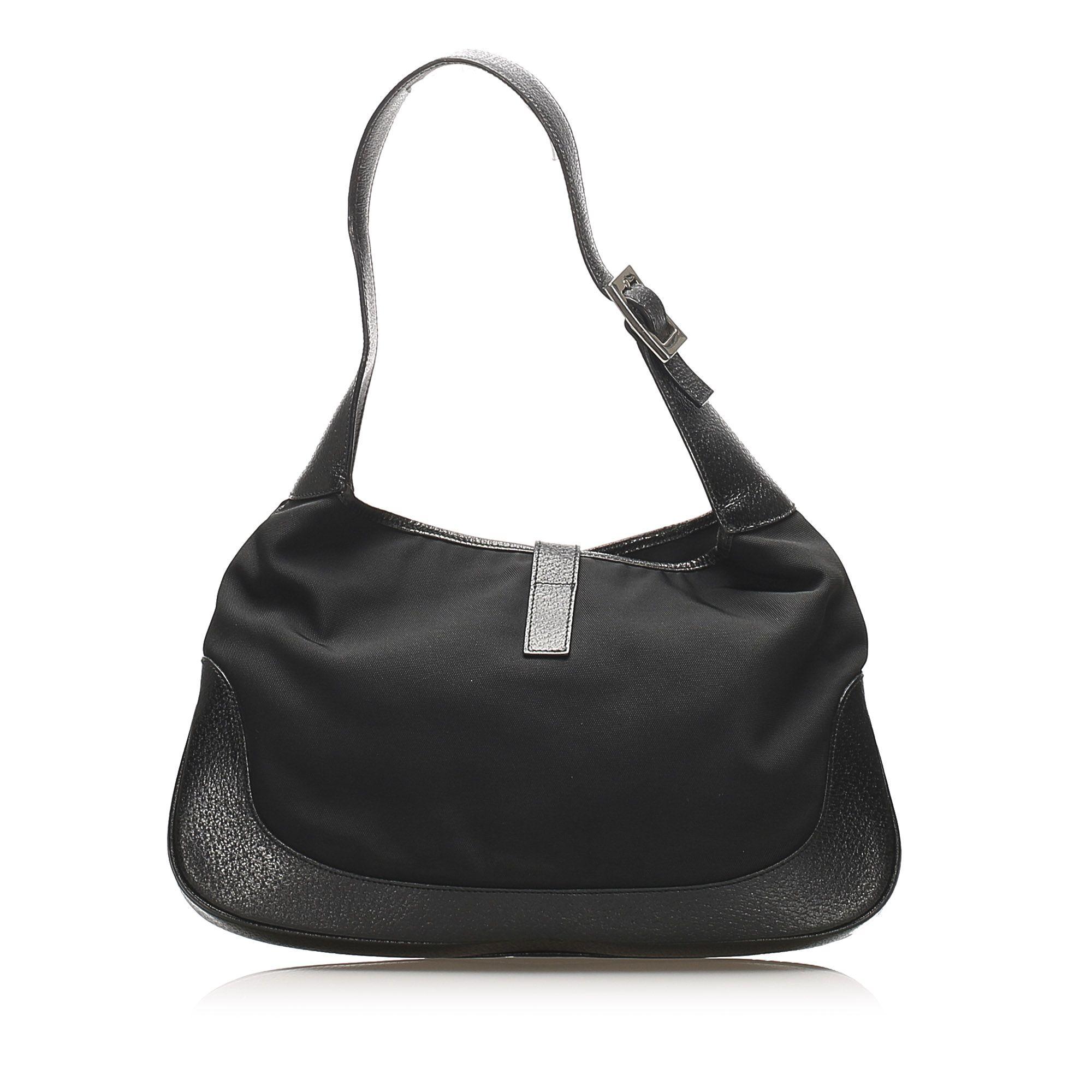 Vintage Gucci Jackie Satin Shoulder Bag Black