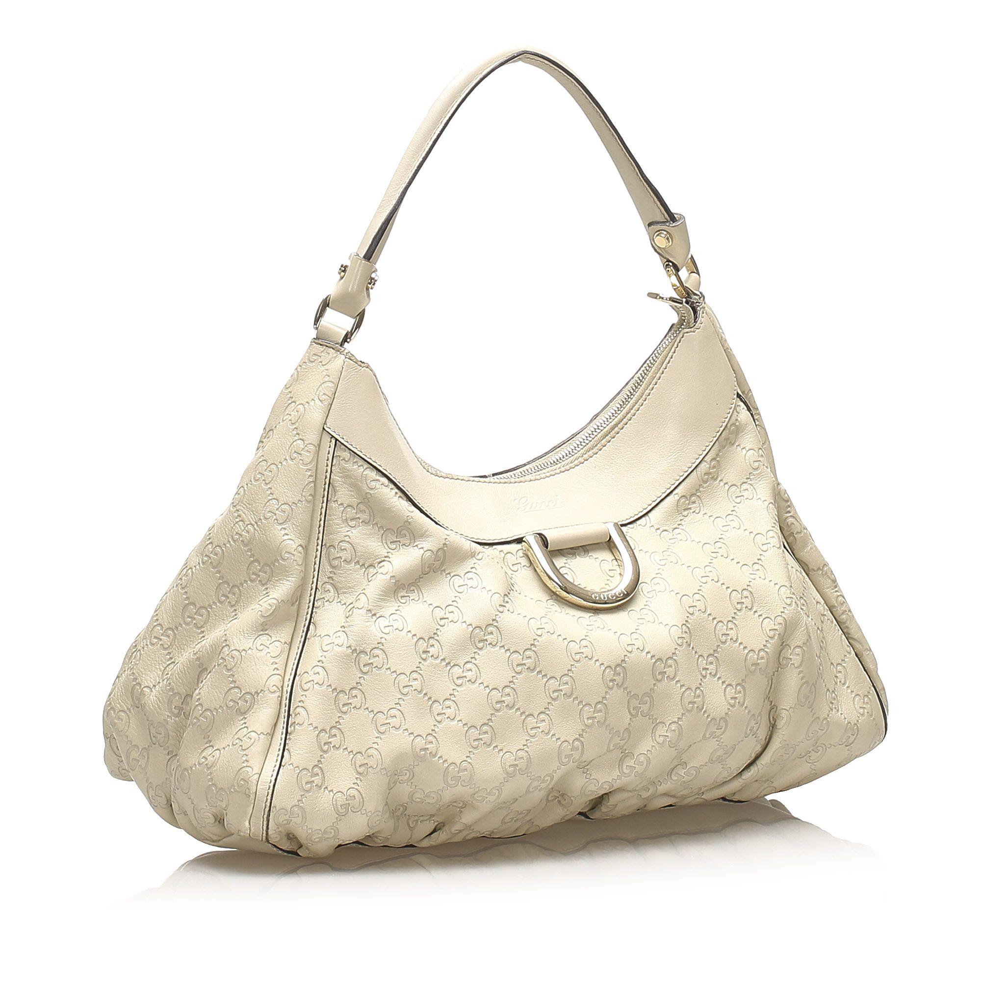 Vintage Gucci Guccissima Abbey D-Ring Shoulder Bag Brown