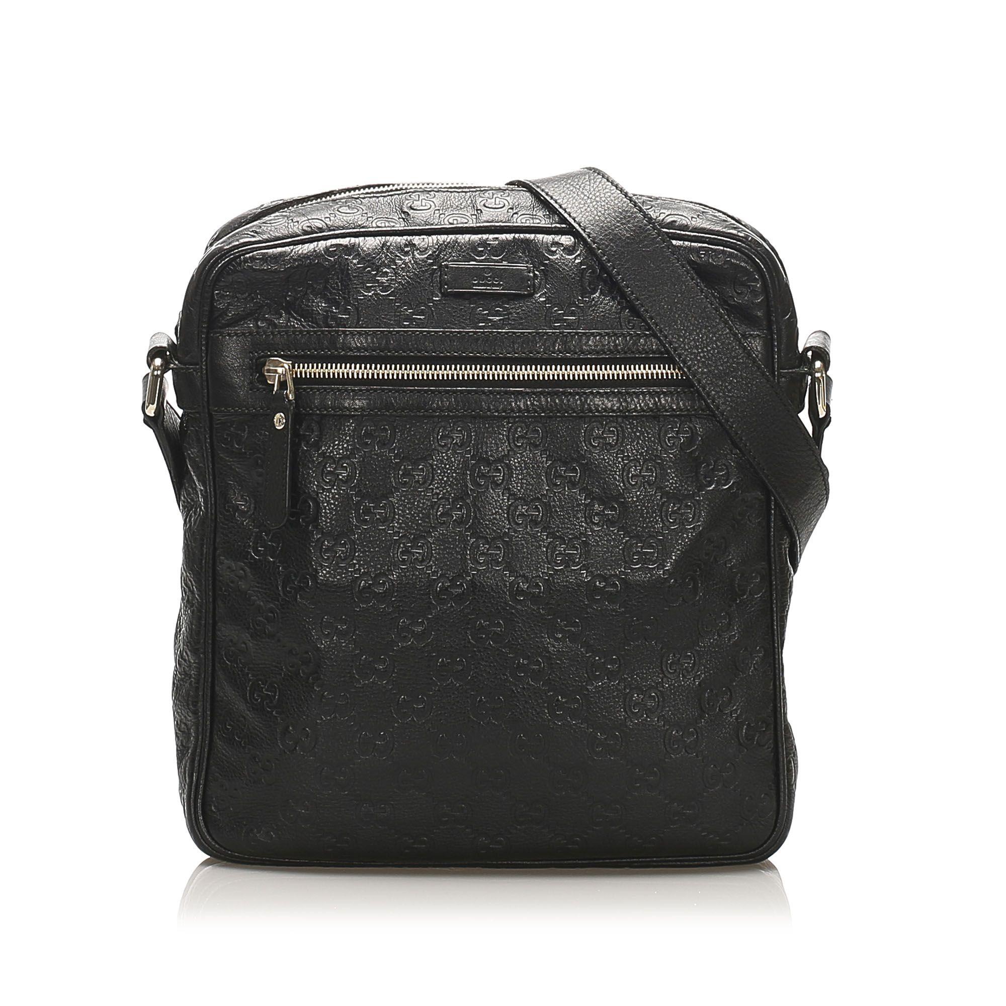 Vintage Gucci Guccissima Crossbody Bag Black