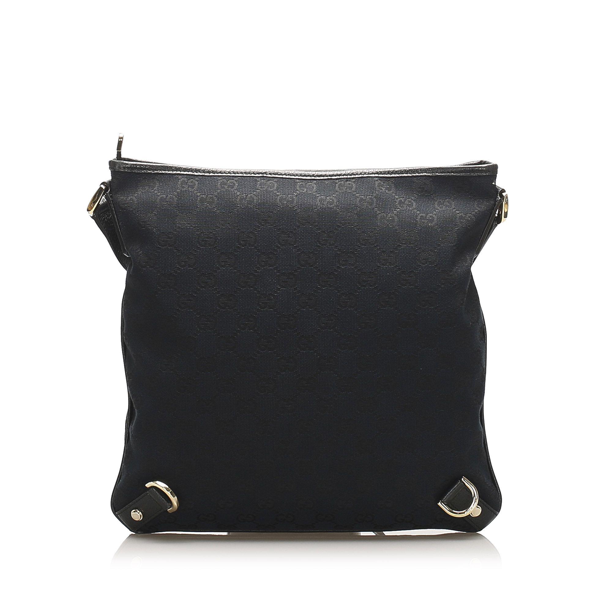 Vintage Gucci GG Canvas Abbey D-Ring Crossbody Bag Black