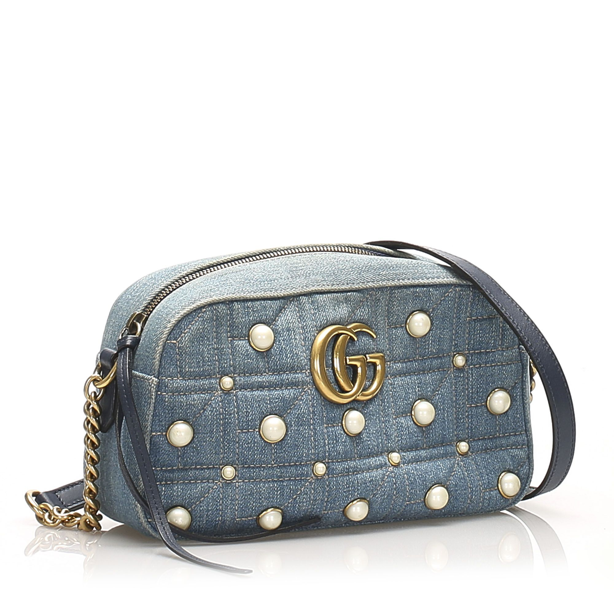 Vintage Gucci Studded GG Marmont Denim Crossbody Blue