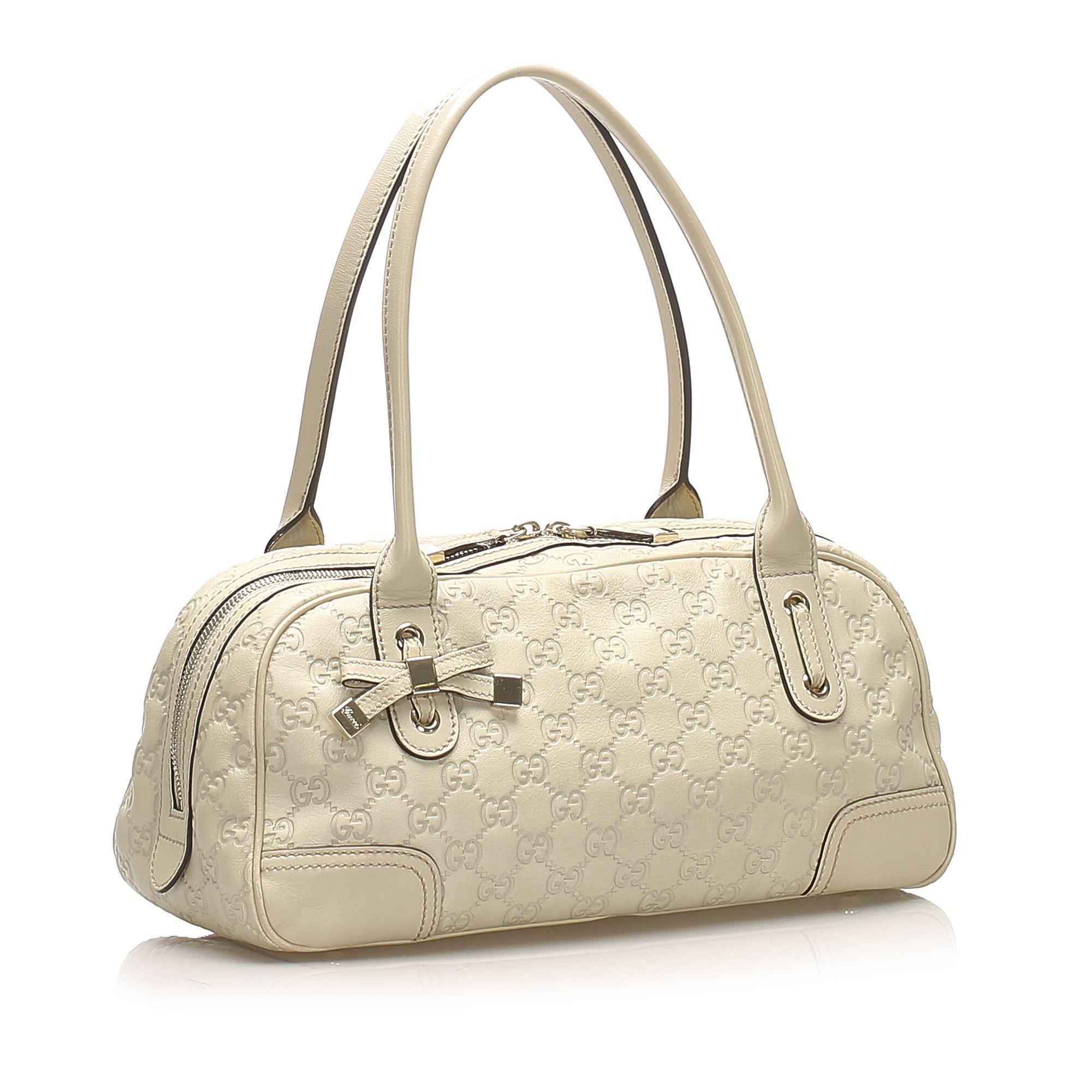 Vintage Gucci Guccissima Princy Shoulder Bag White