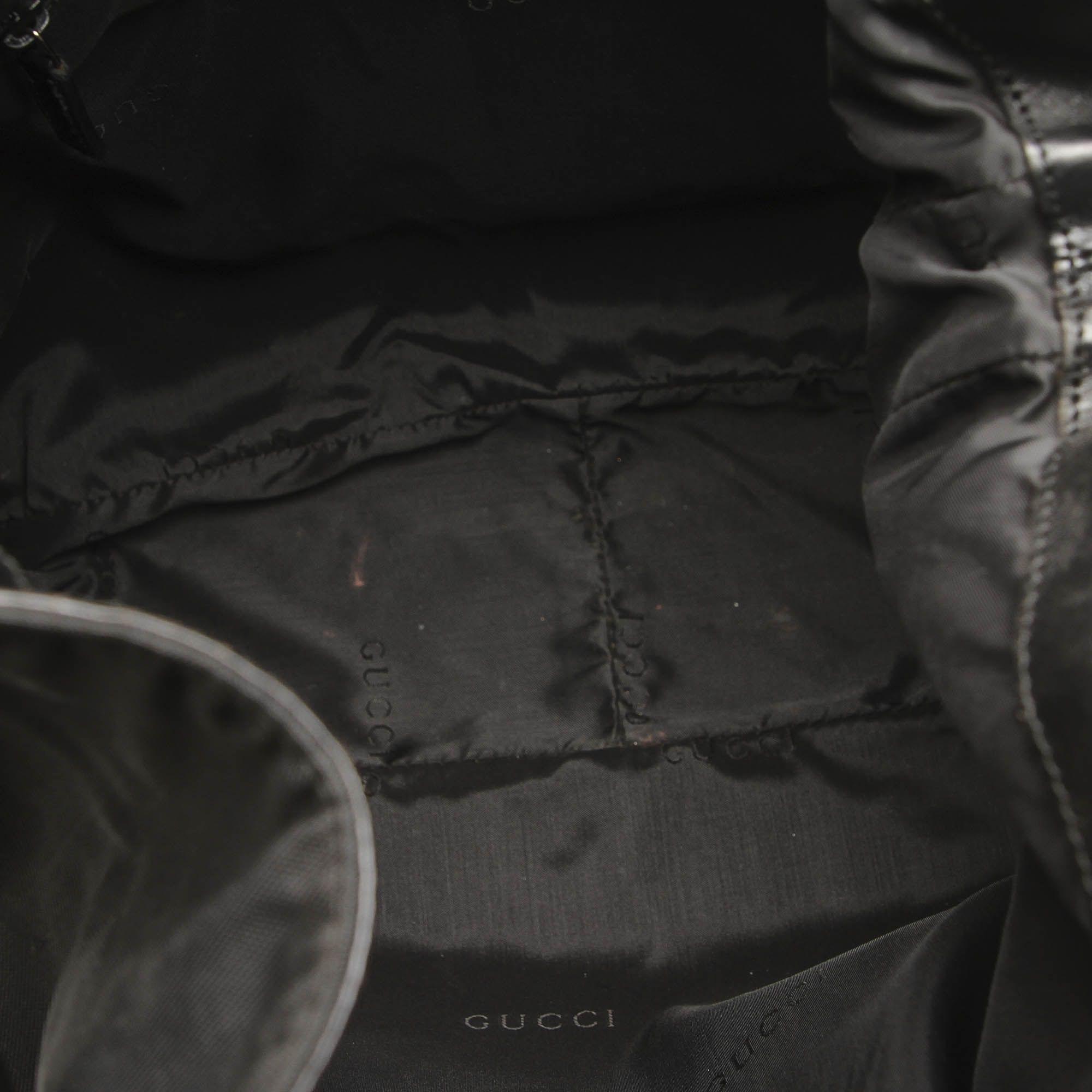 Vintage Gucci Bamboo Nylon Satchel Black