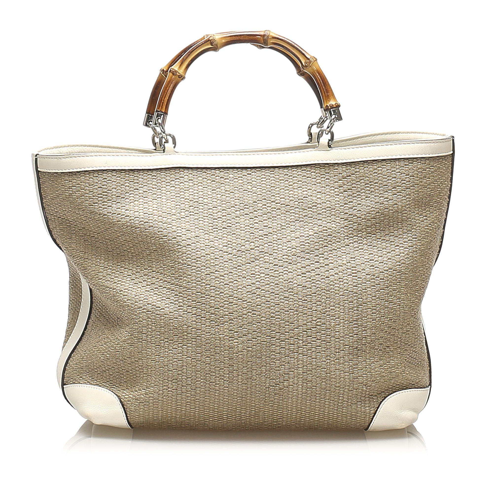 Vintage Gucci Bamboo Raffia Handbag Brown