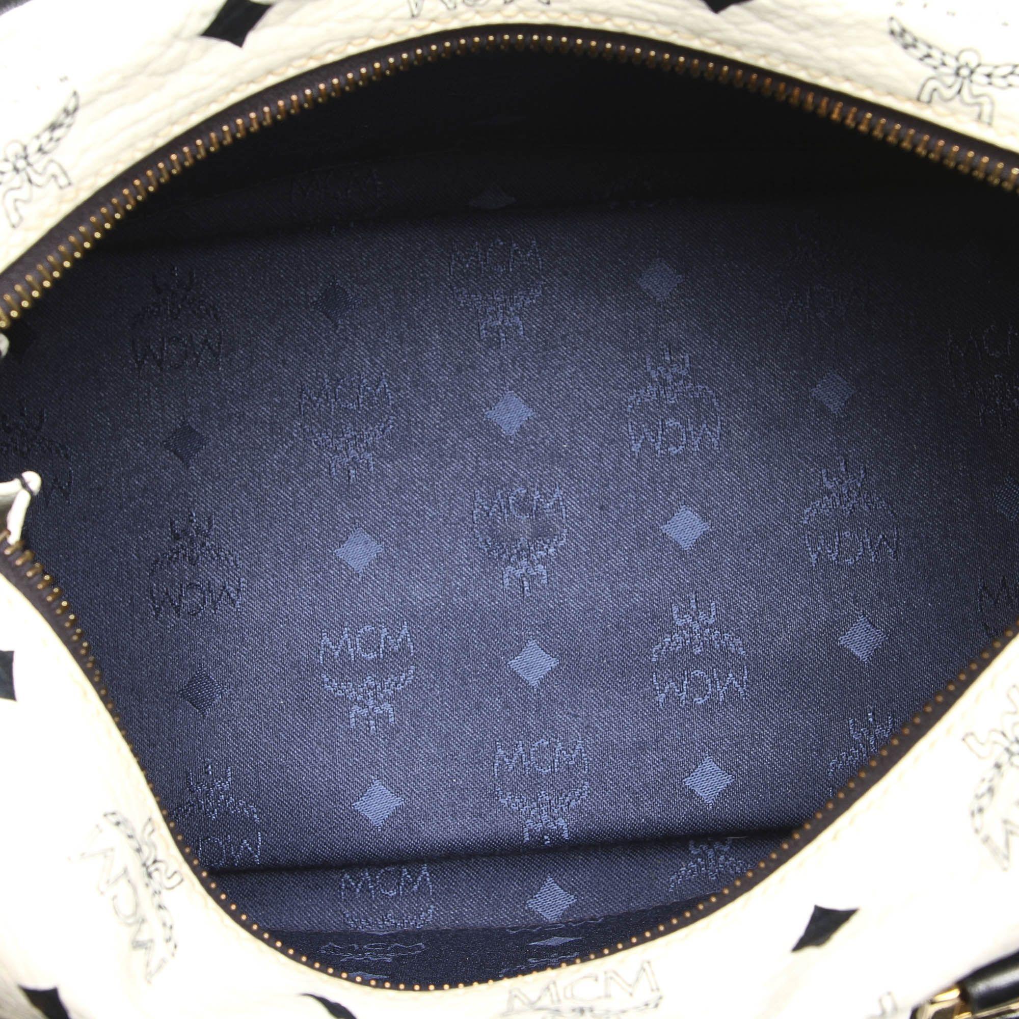 Vintage MCM Visetos Leather Boston Bag White