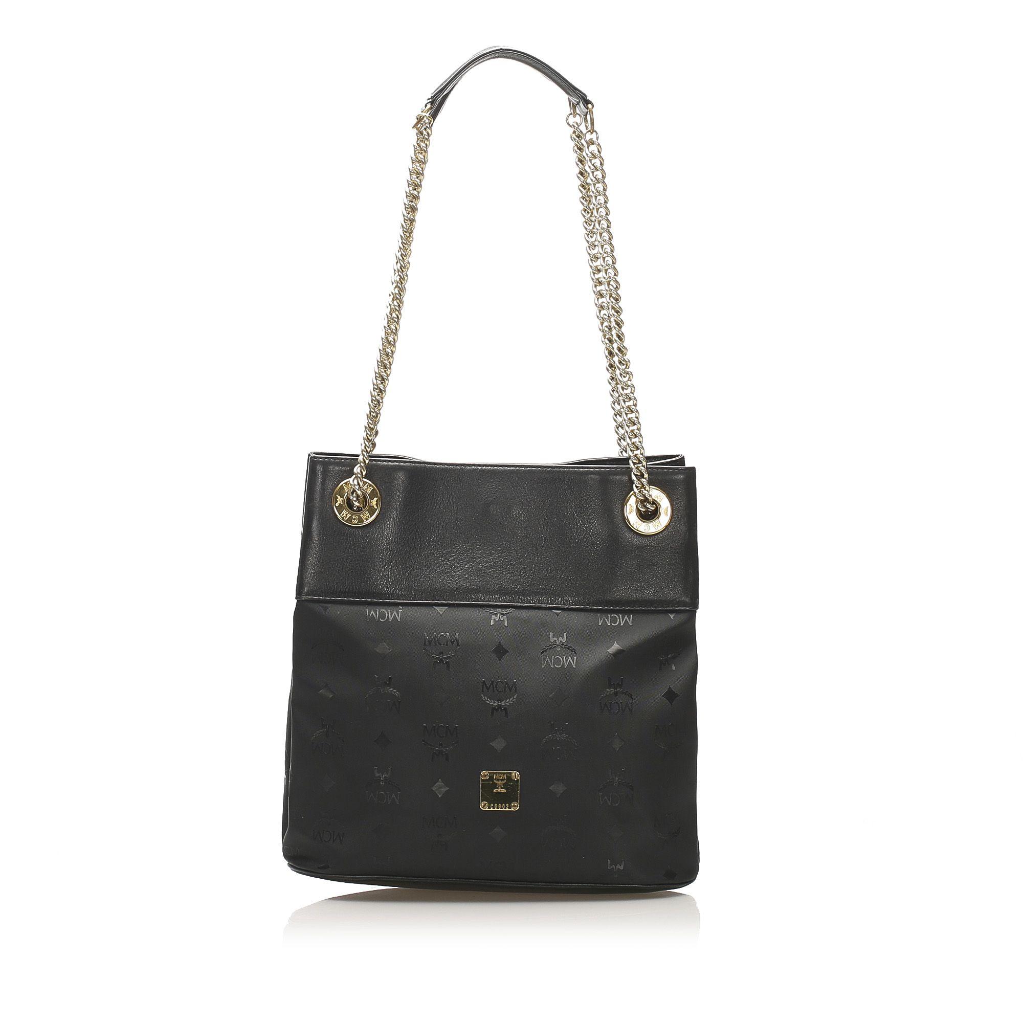 Vintage MCM Visetos Chain Shoulder Bag Black
