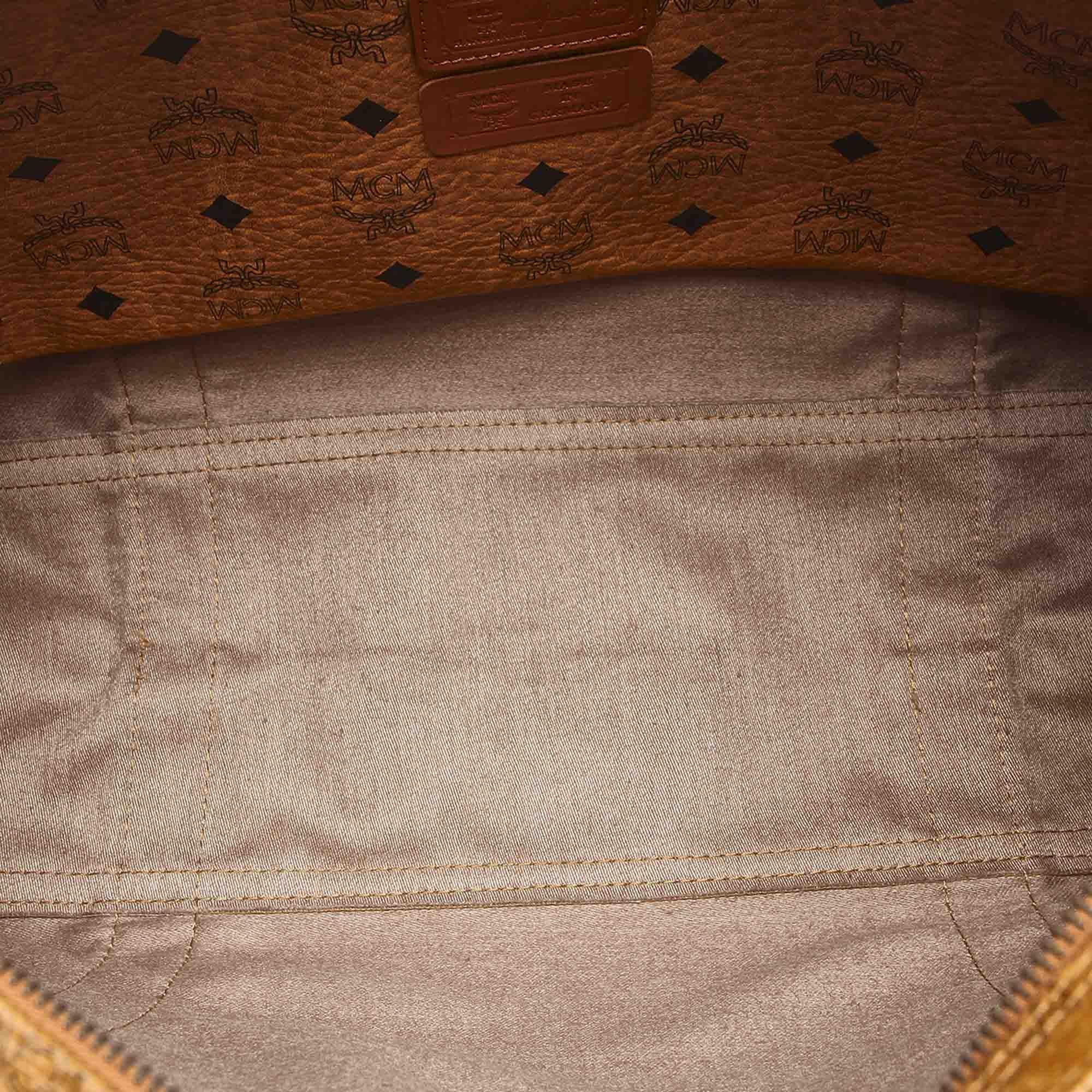 Vintage MCM Visetos Leather Shoulder Bag Brown