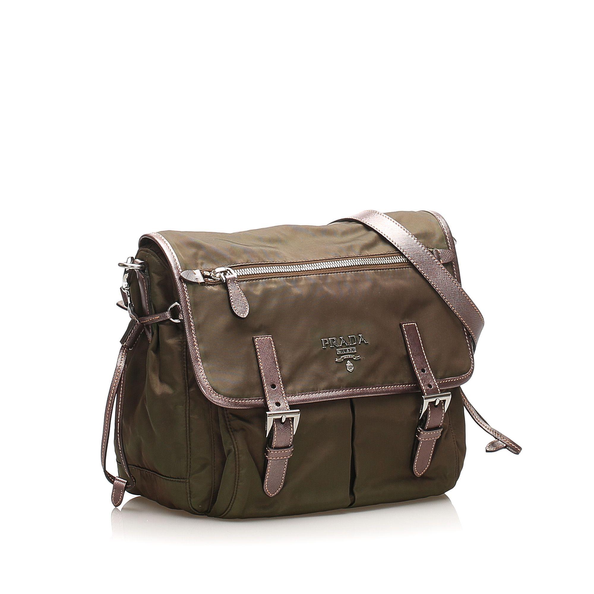 Vintage Prada Tessuto Crossbody Bag Brown