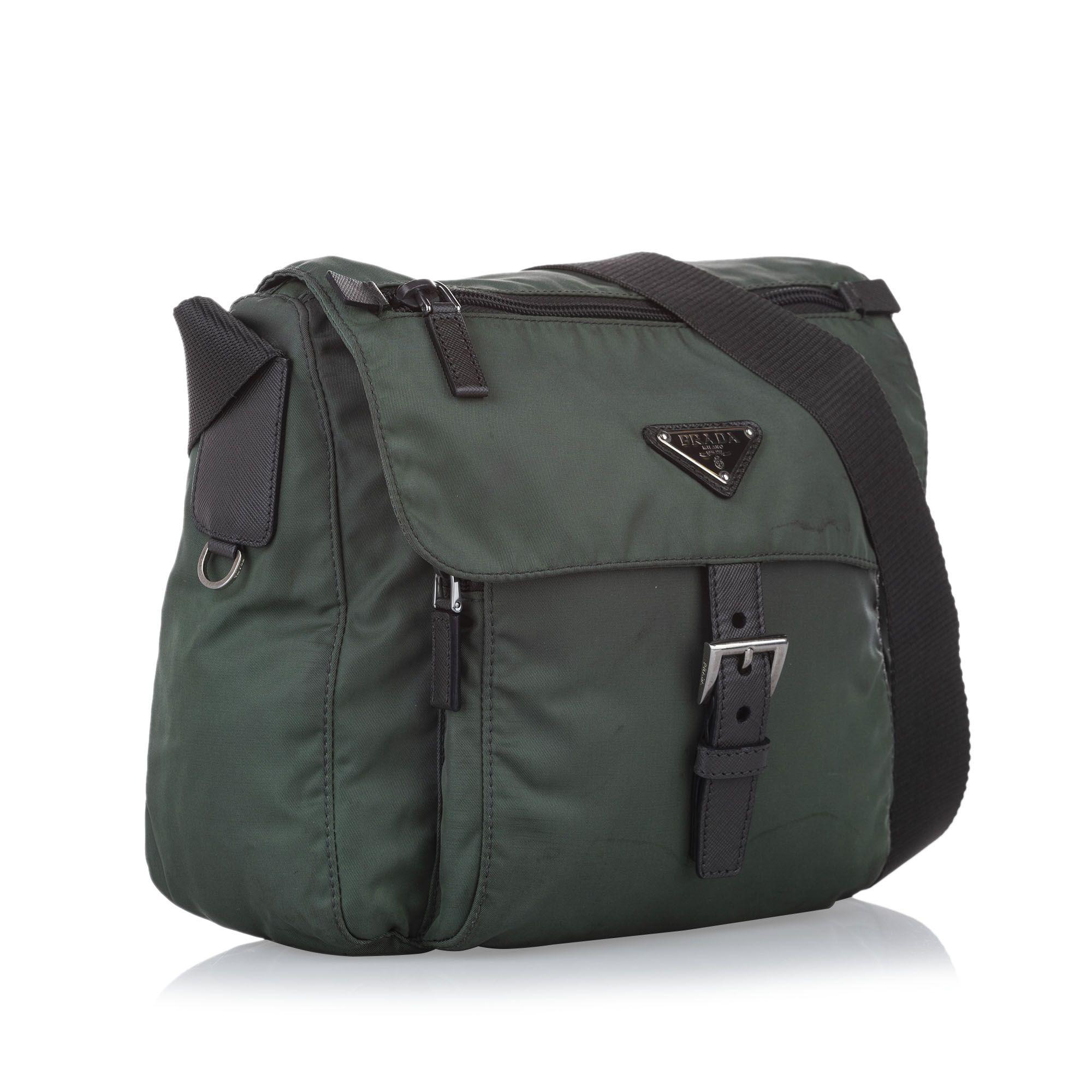 Vintage Prada Tessuto Crossbody Bag Green