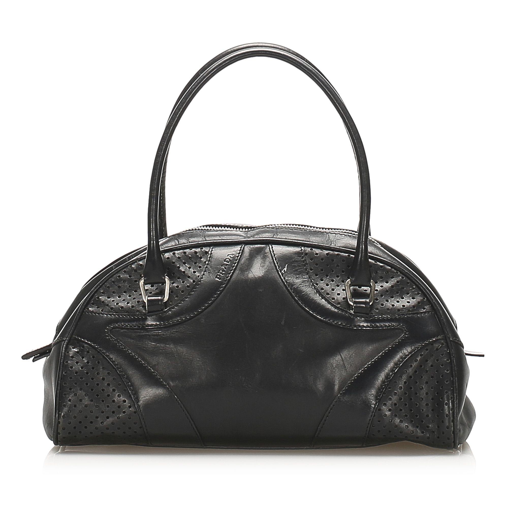 Vintage Prada Vitello Drive Bowler Handbag Black