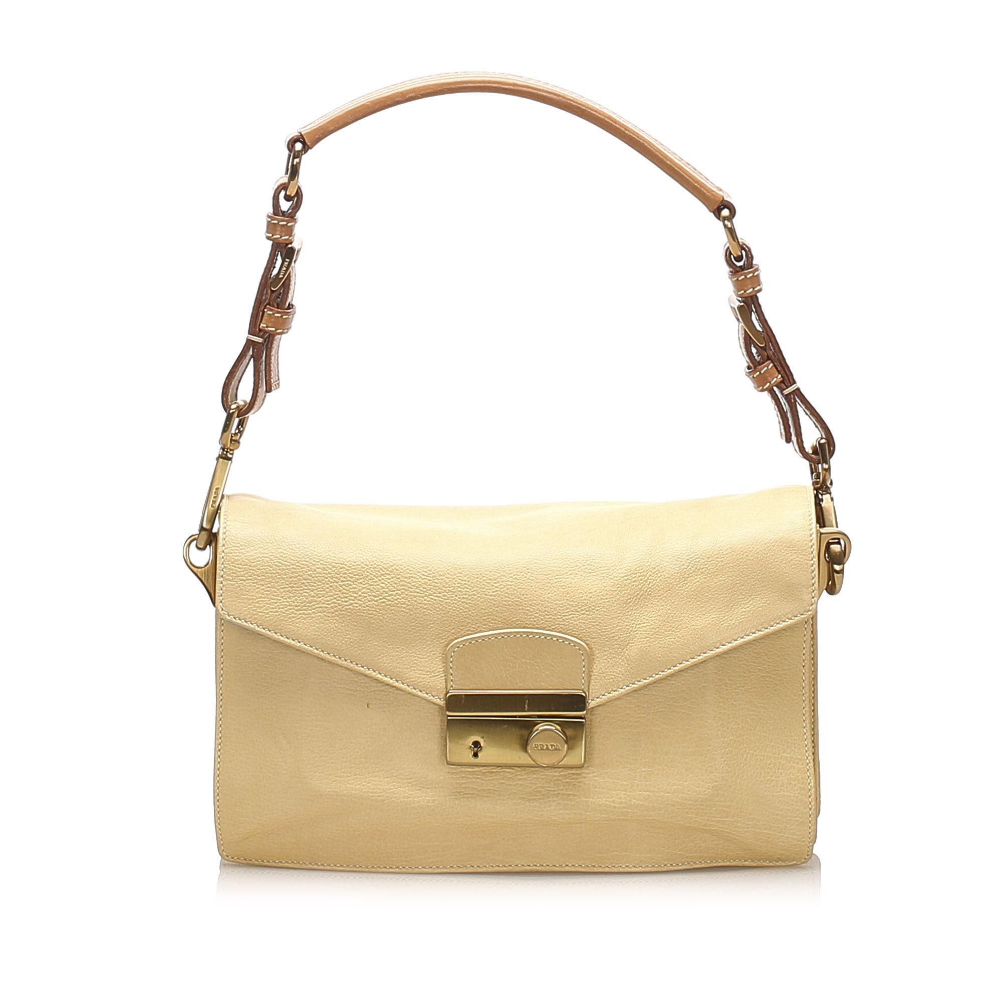 Vintage Prada Sound Lock Leather Shoulder Bag Brown