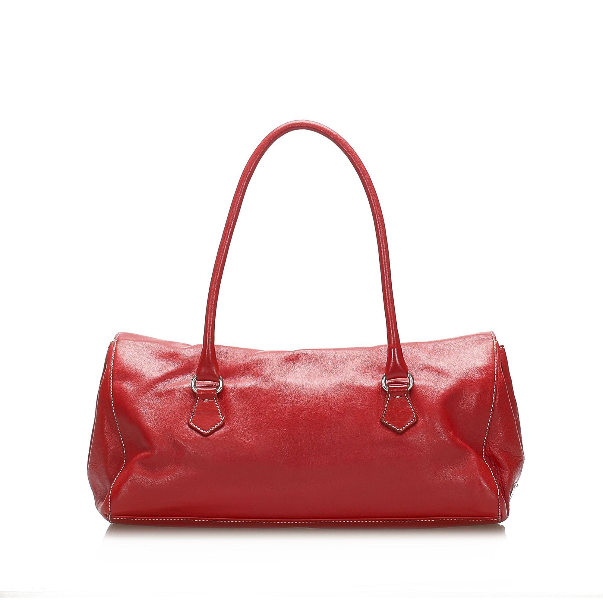 Vintage Prada Easy Leather Shoulder Bag Red