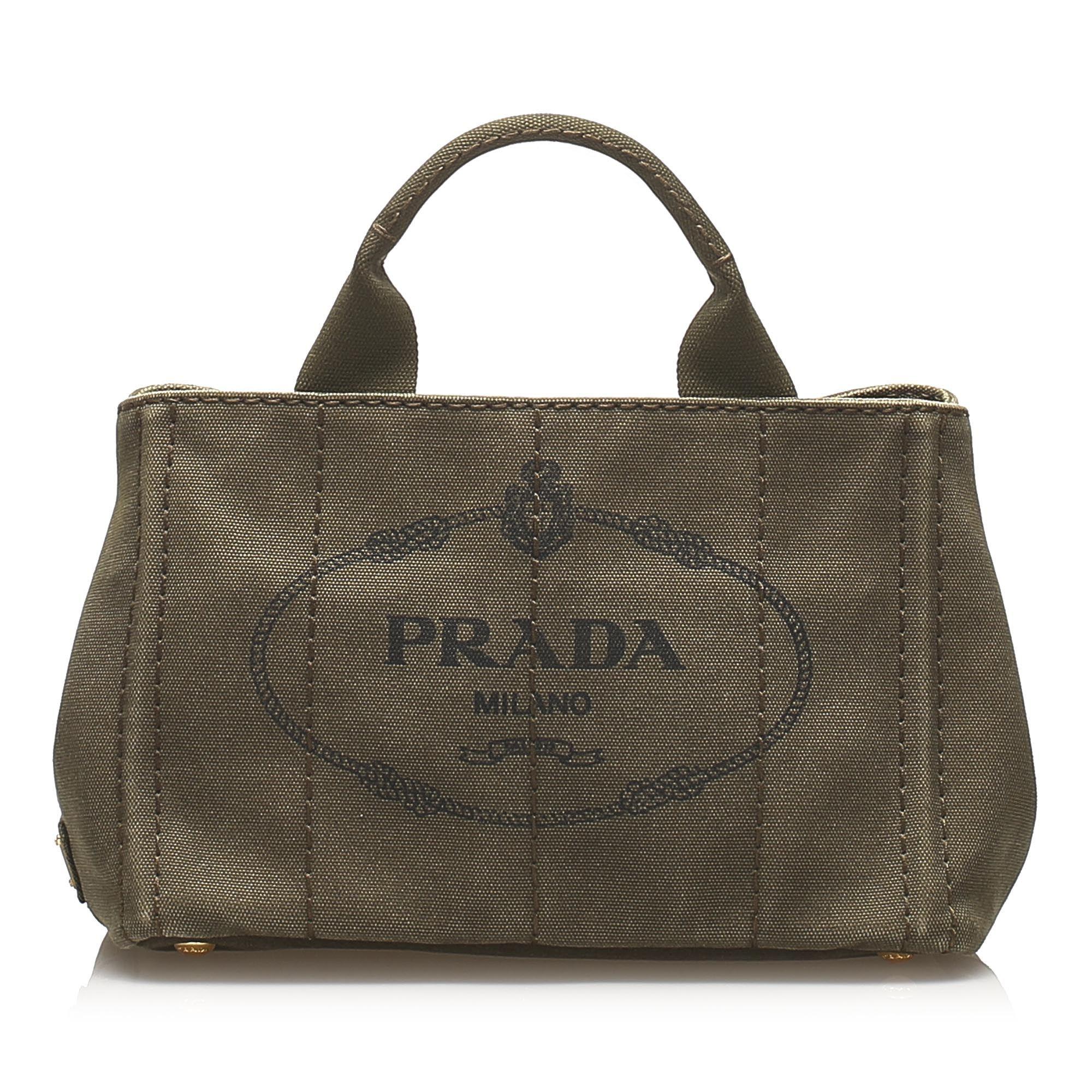 Vintage Prada Canapa Canvas Satchel Green