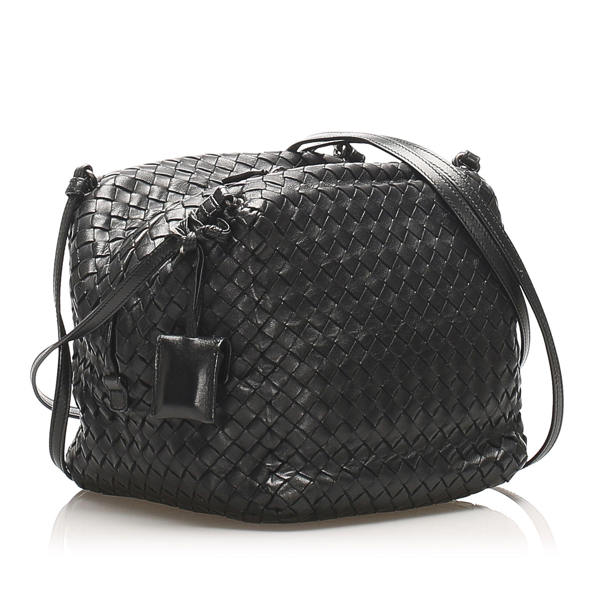 Vintage Bottega Veneta Intrecciato Leather Shoulder Bag Black