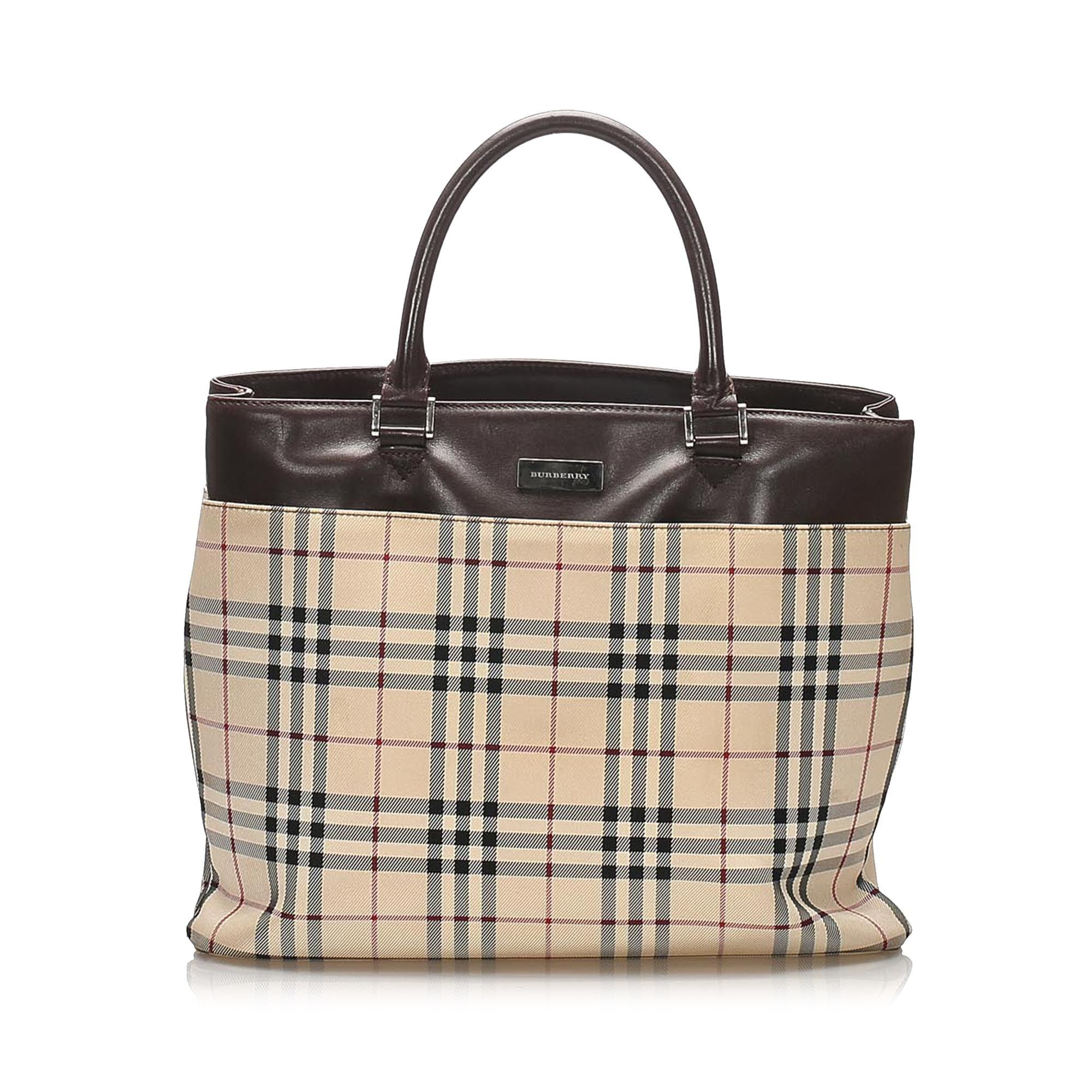 Vintage Burberry House Check Canvas Handbag Brown