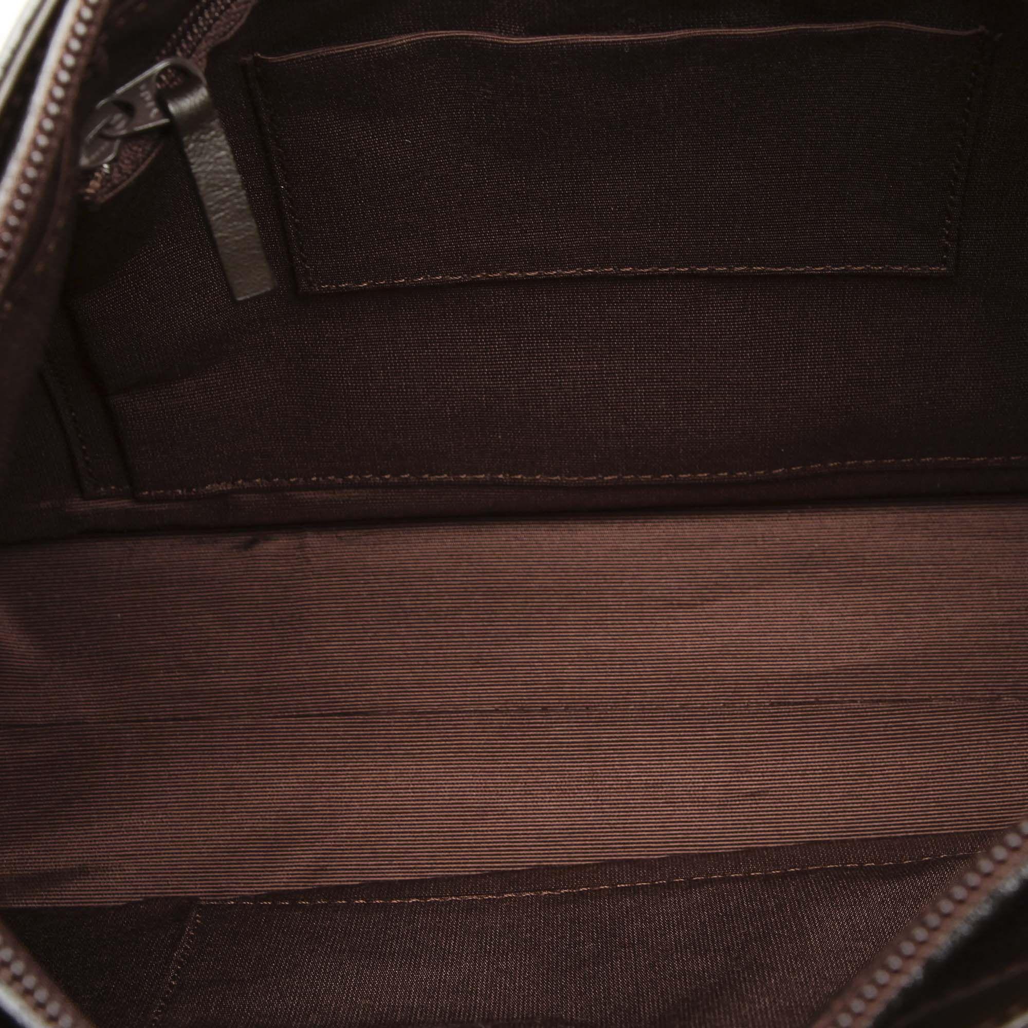 Vintage Burberry Leather Shoulder Bag Brown