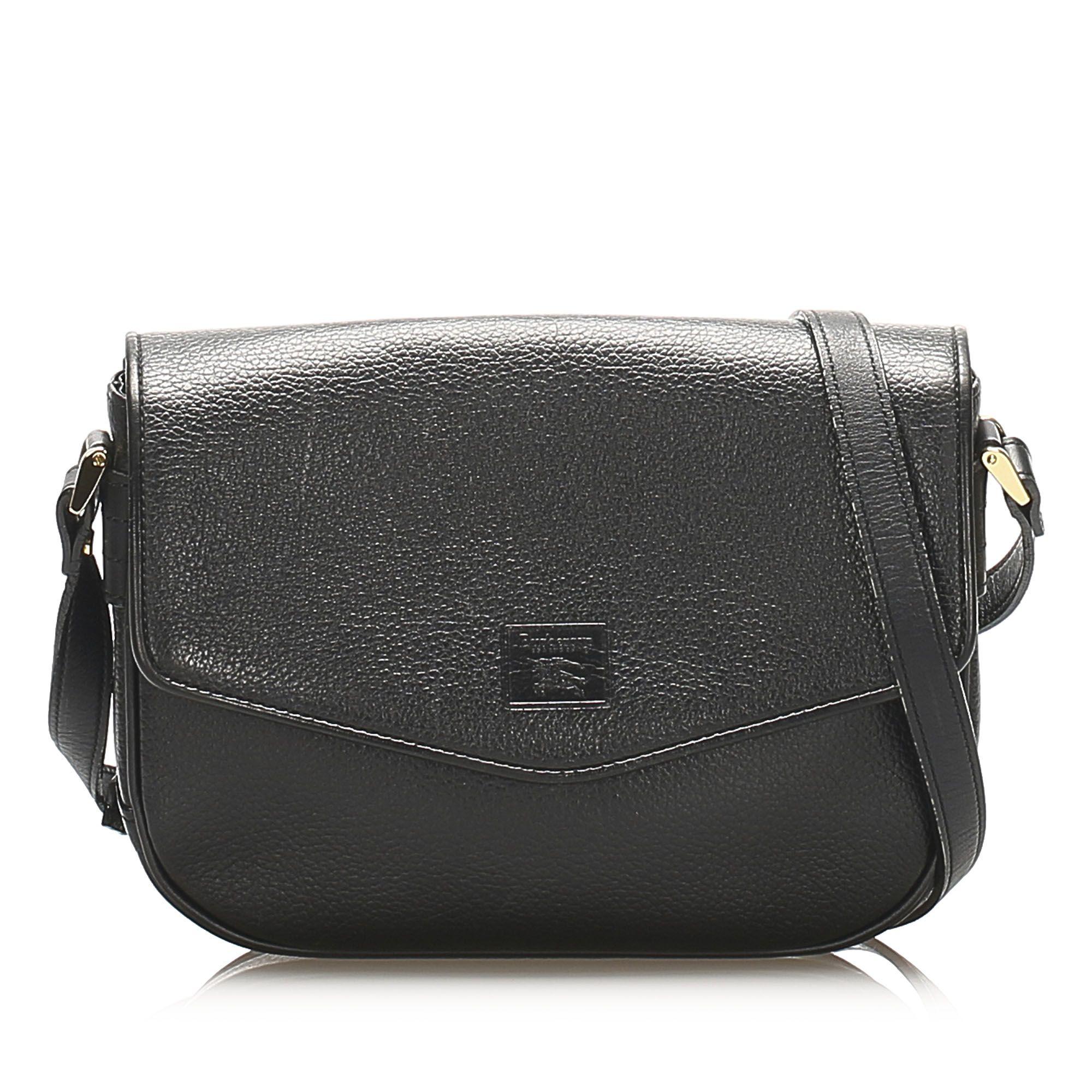 Vintage Burberry Leather Crossbody Bag Black