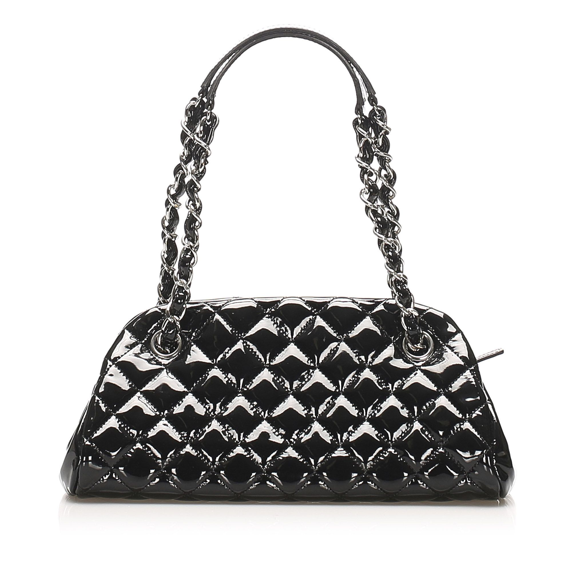 Vintage Chanel Mademoiselle Patent Leather Bowling Bag Black