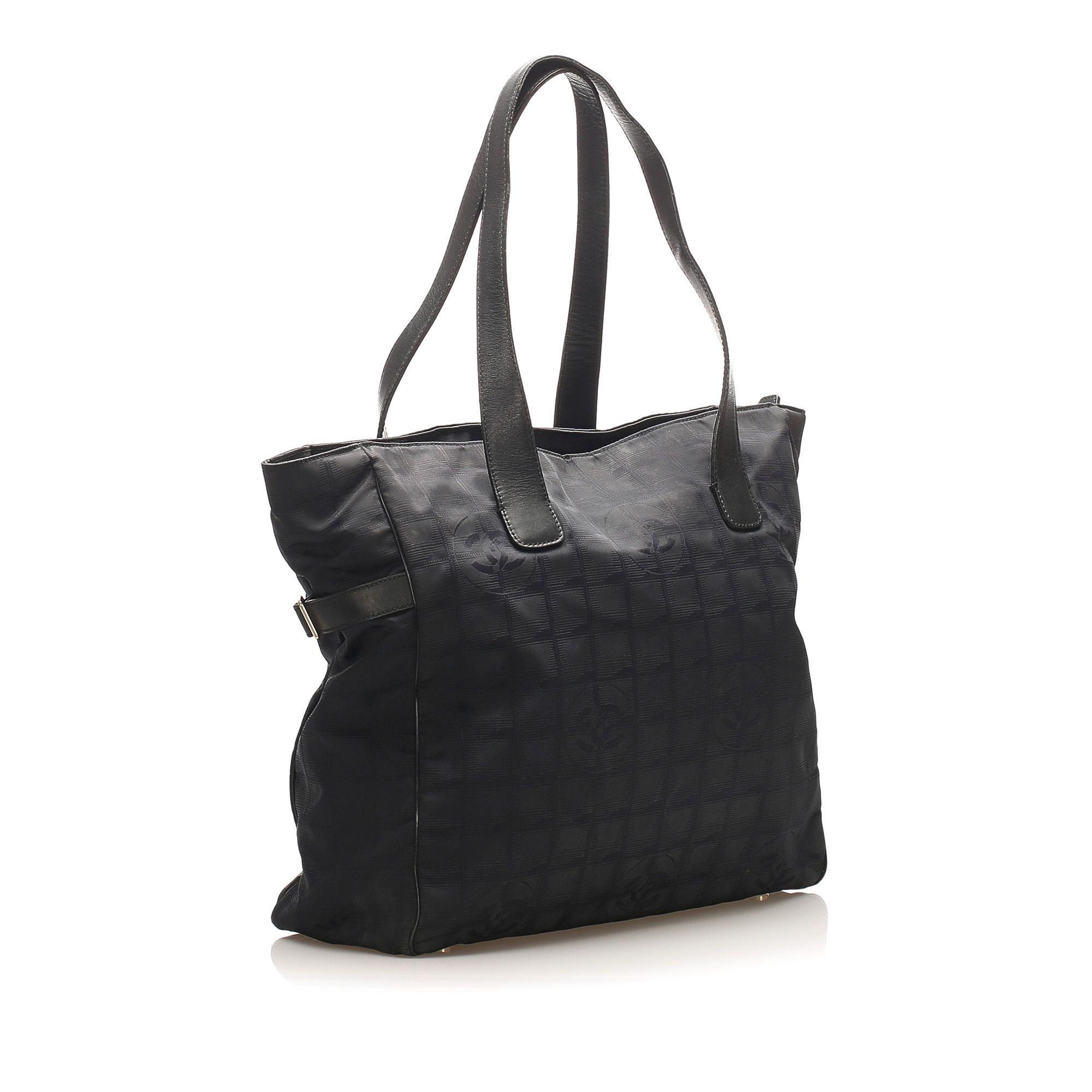 Vintage Chanel New Travel Line Canvas Tote Bag Black