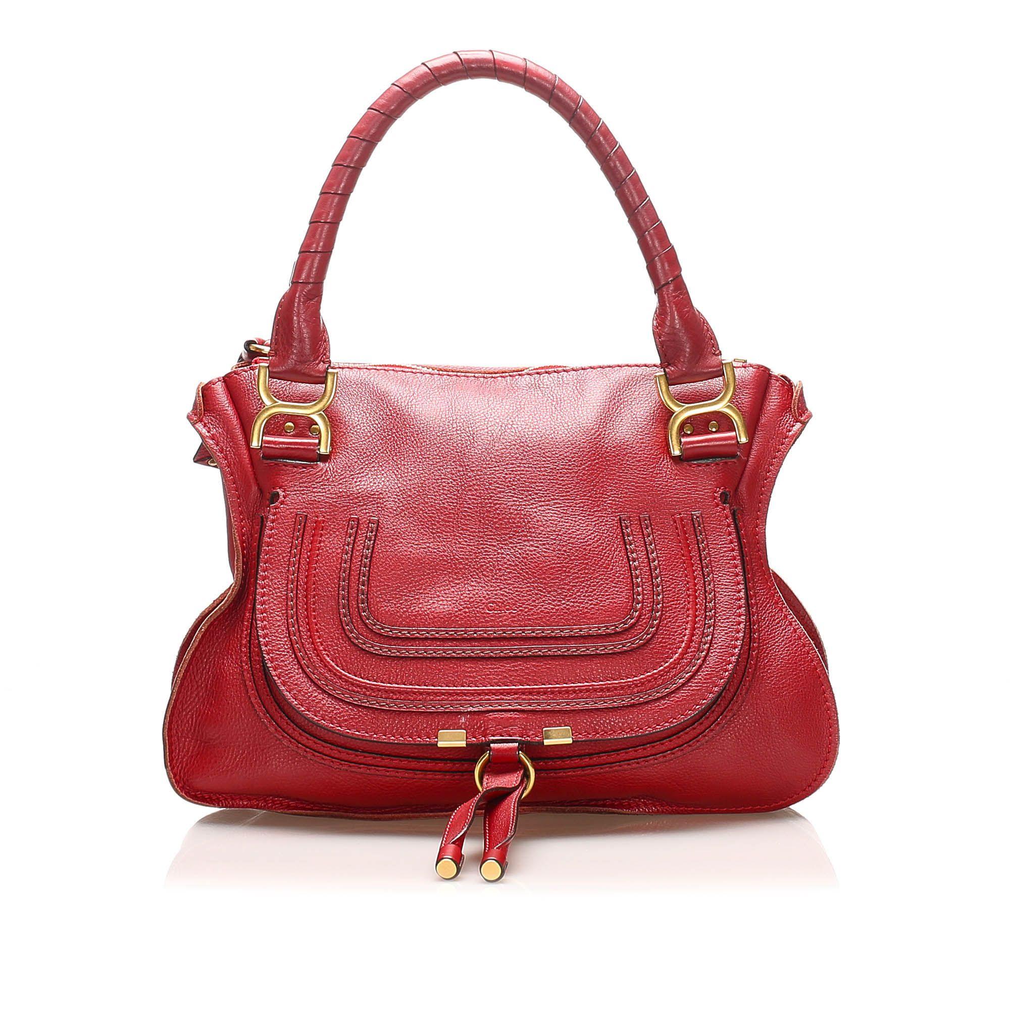 Vintage Chloe Marcie Leather Handbag Red