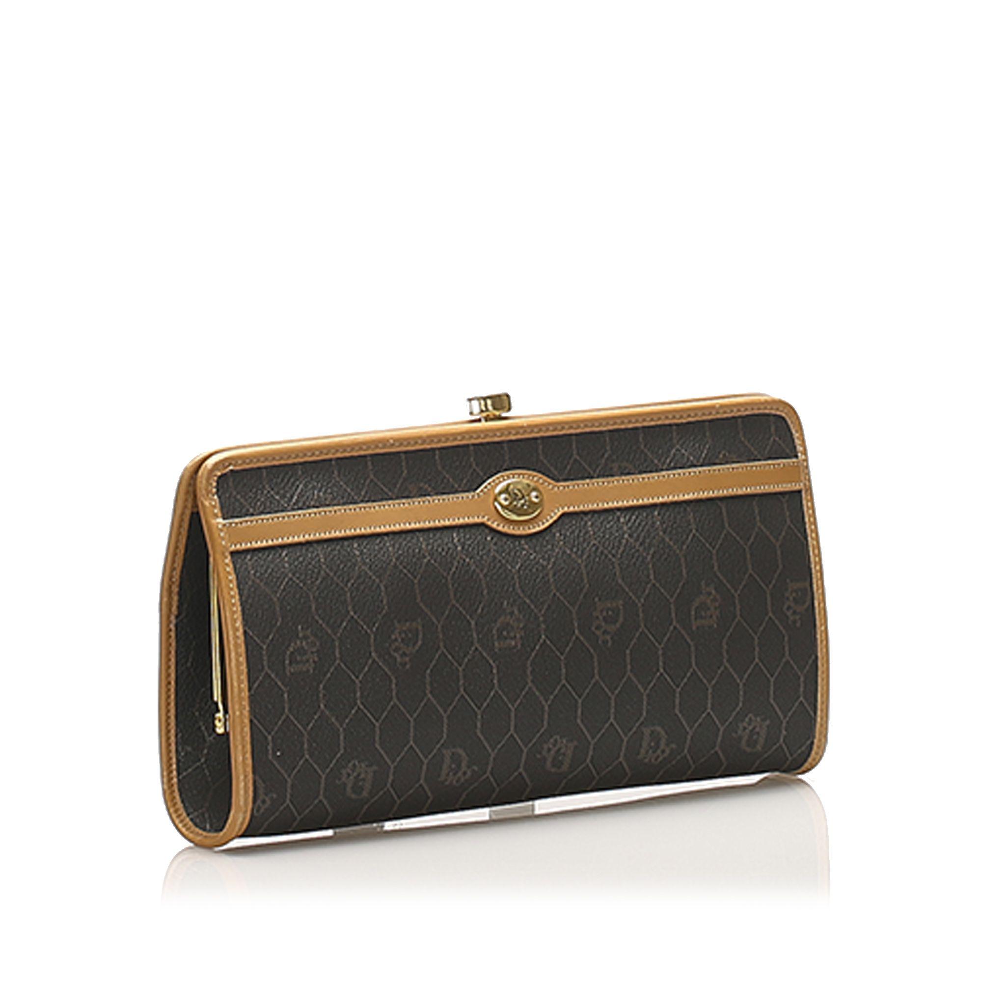 Vintage Dior Honeycomb Coated Canvas Clutch Bag Black