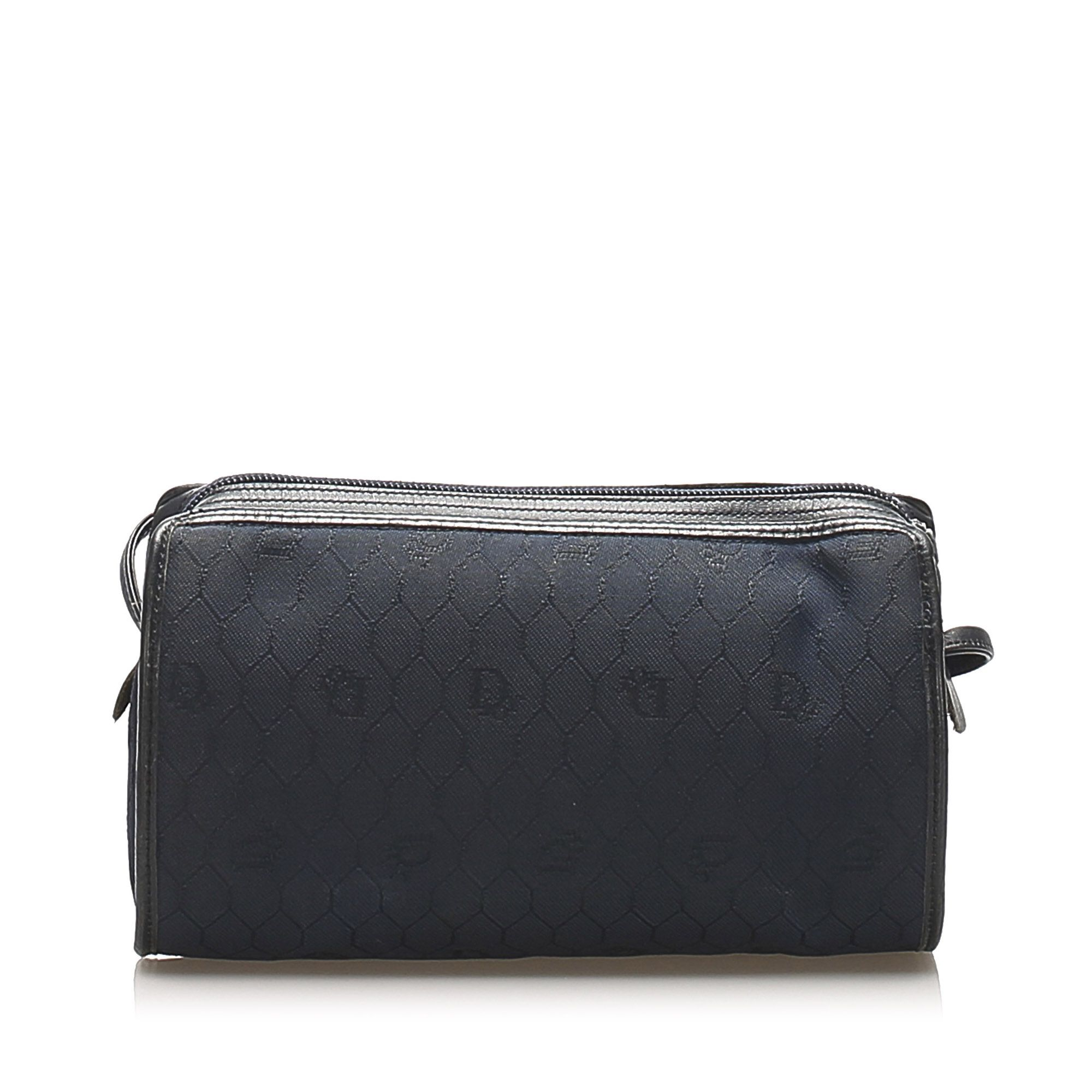 Vintage Dior Honeycomb Canvas Crossbody Bag Black