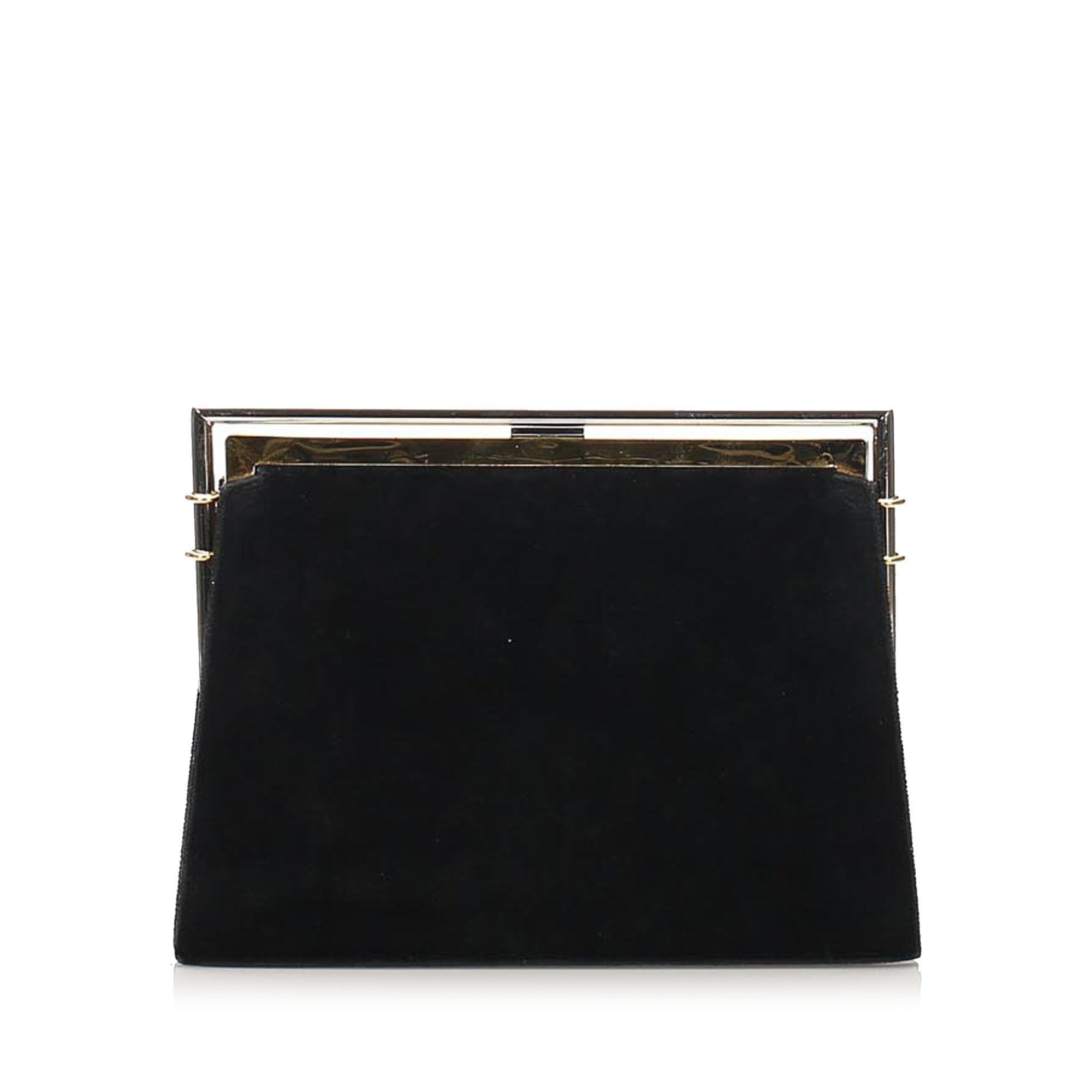 Vintage Fendi Leather Clutch Bag Black